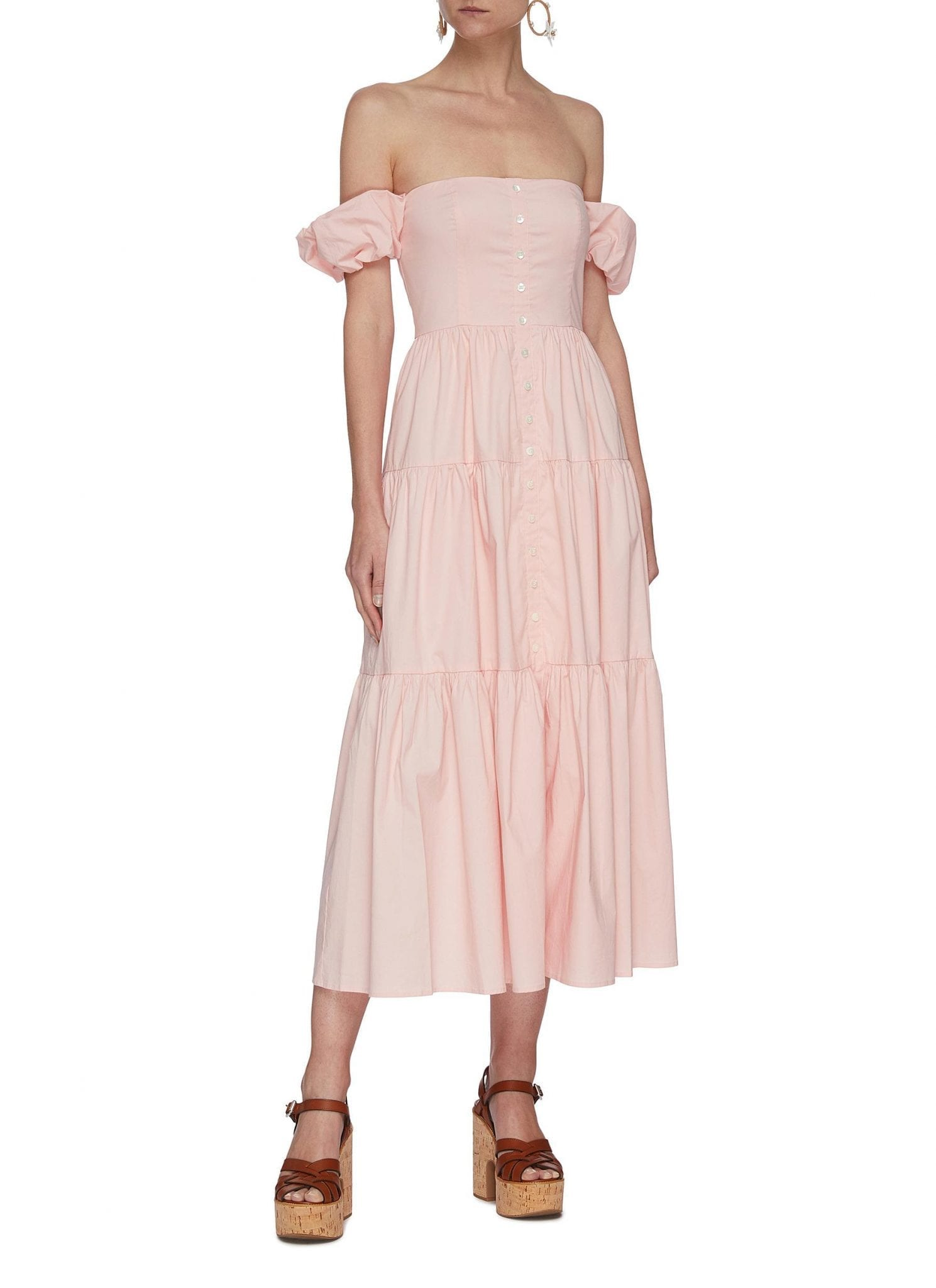STAUD 'Elio' Off Shoulder Puff Sleeve Dress