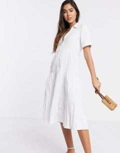 STRADIVARIUS Button Front Poplin Midi Dress