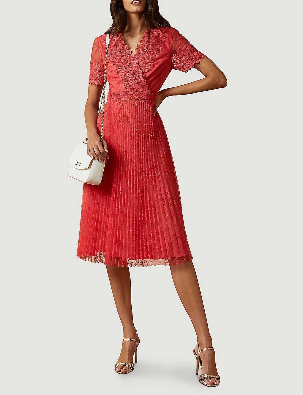 TED BAKER Semi-sheer Floral-lace Midi Dress