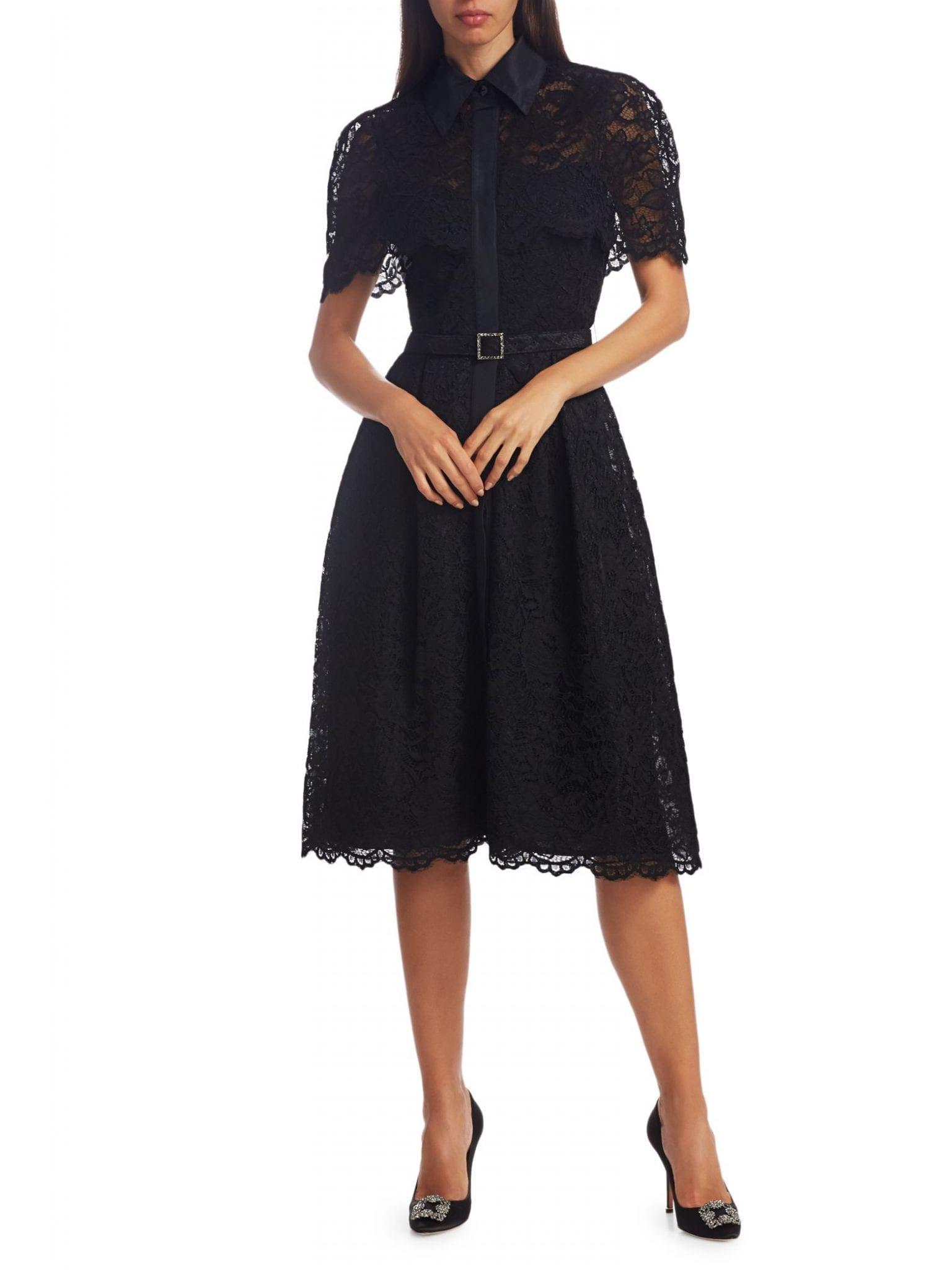 TERI JON BY RICKIE FREEMAN Belted Lace Shirt Dress