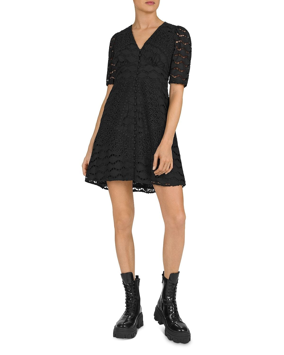 THE KOOPLES Embroidered Fit-And-Flare Dress