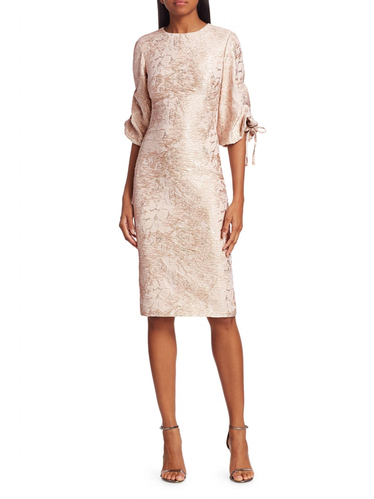 THEIA Metallic Puff-Sleeve Dress