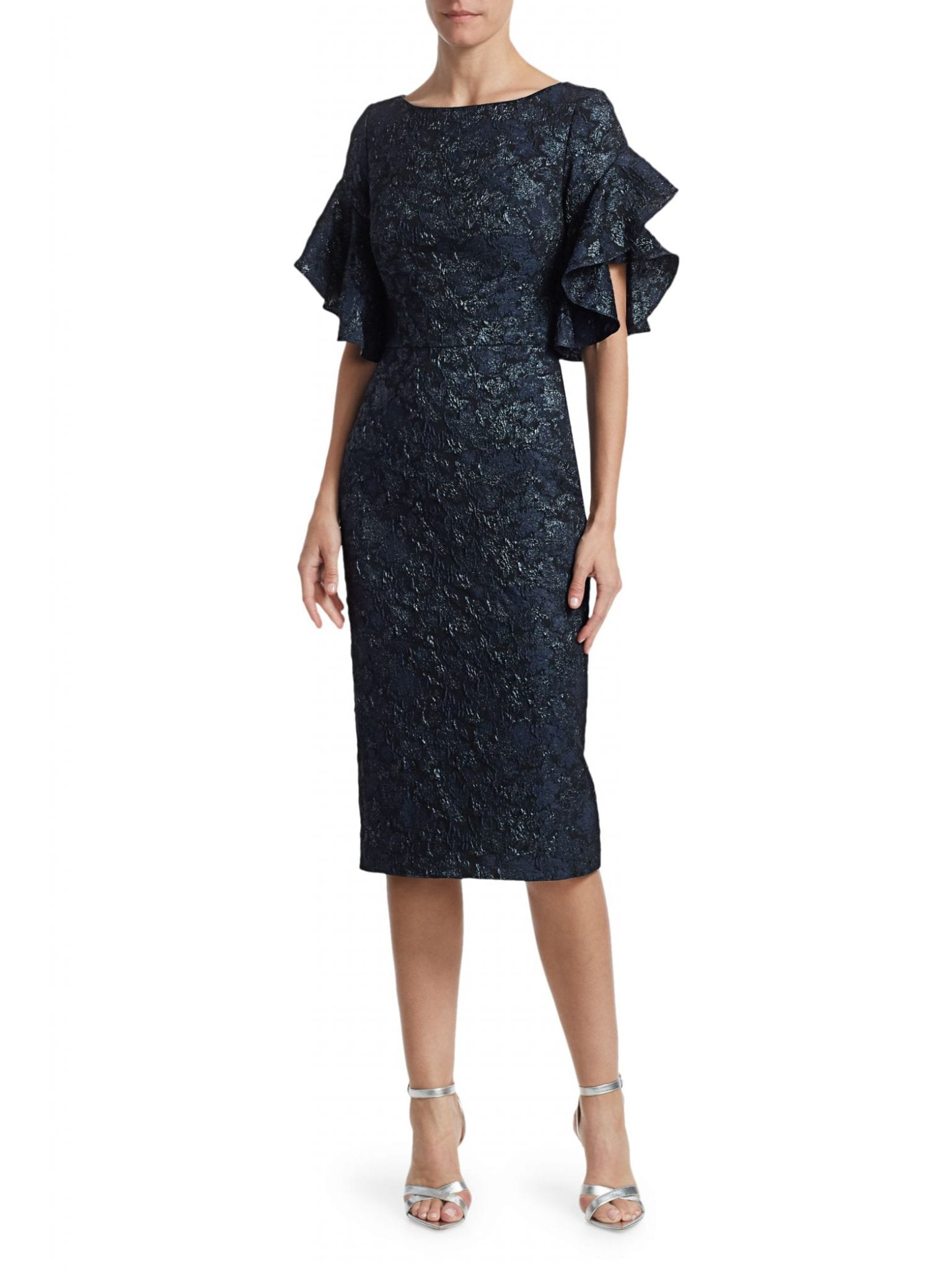 THEIA Ruffle-Sleeve Cloqué Cocktail Dress