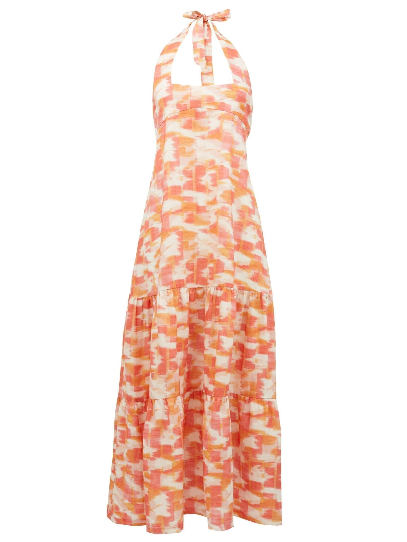 THREE GRACES LONDON Ofelia Abstract Ikat-Print Halterneck Linen Dress