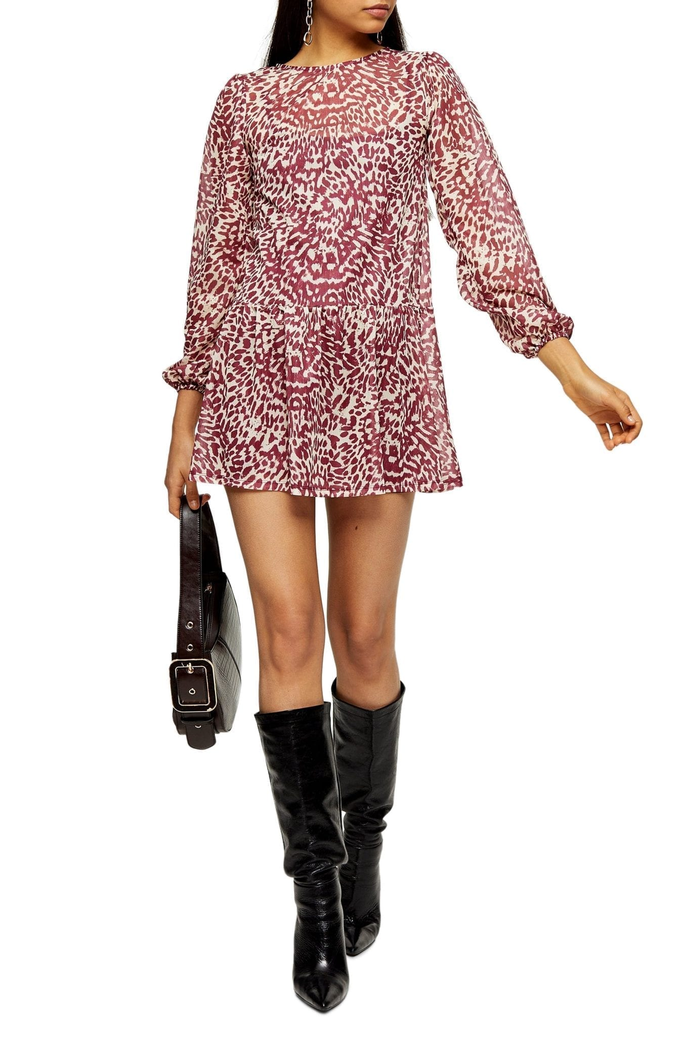 TOPSHOP Animal Print Long Sleeve Mini Dress