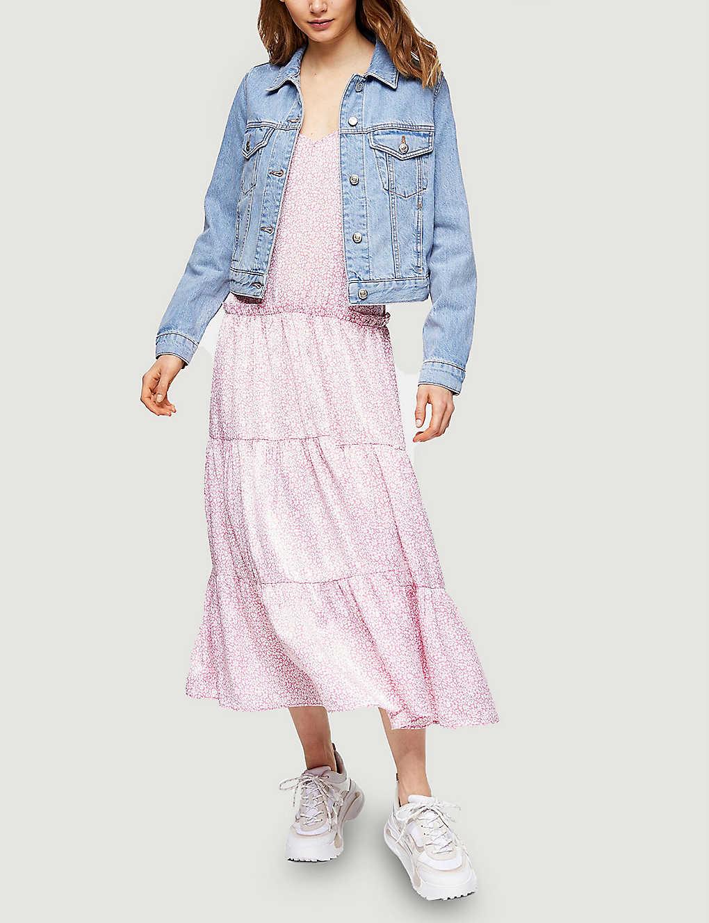 TOPSHOP Floral-print Tiered Satin Midi Dress
