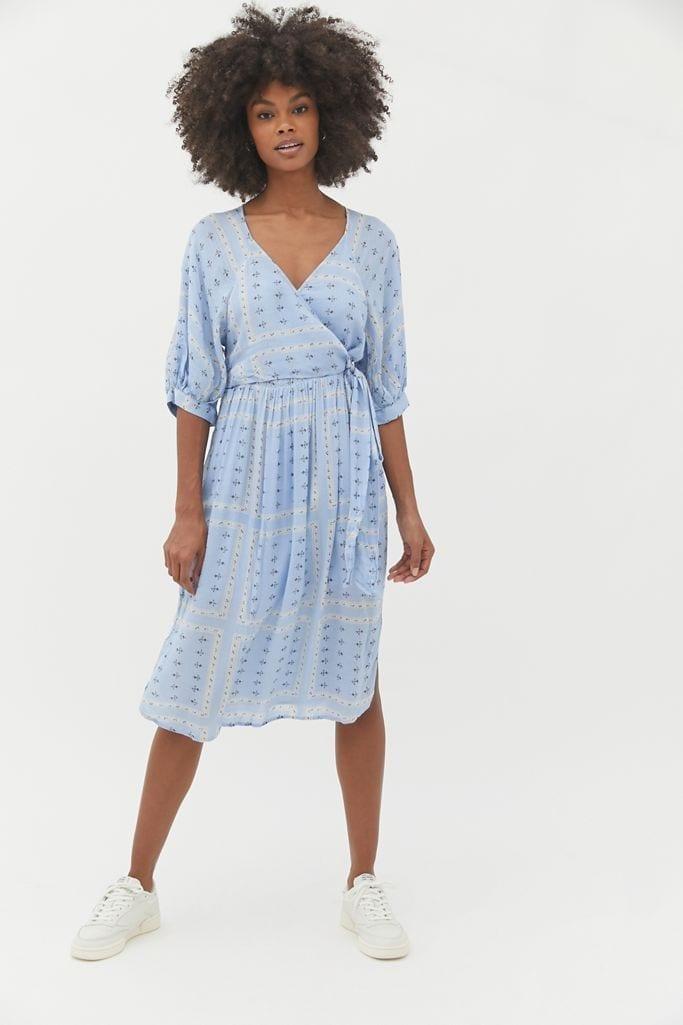 URBAN OUTFITTERS Joey Surplice Faux Wrap Midi Dress