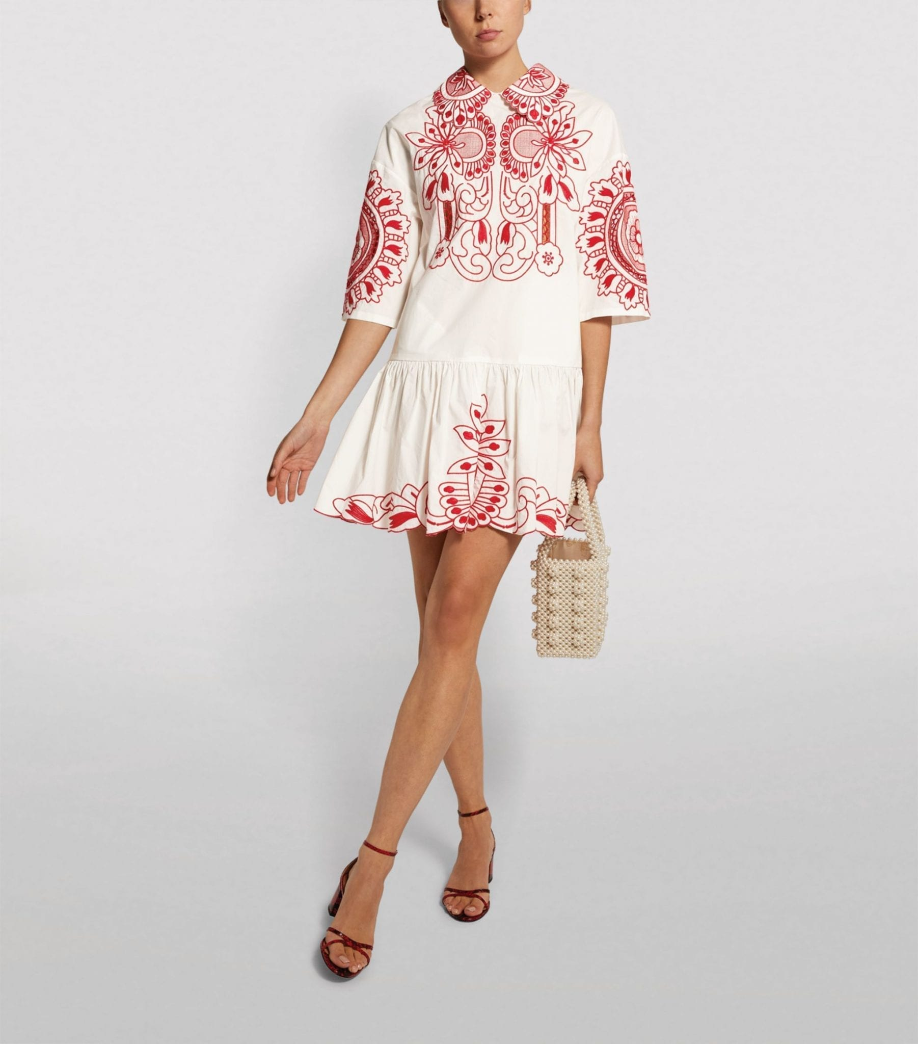 VALENTINO Embroidered Cotton Smock Dress