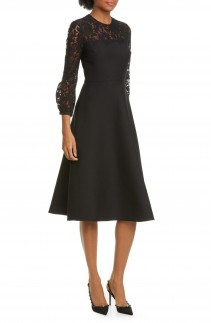 VALENTINO Lace Contrast Wool & Silk Midi Dress