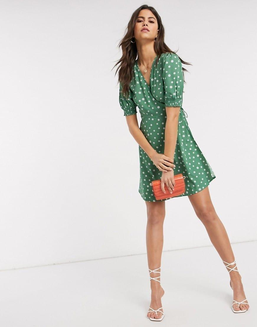 VERO MODA Puff Sleeve Wrap Mini Dress