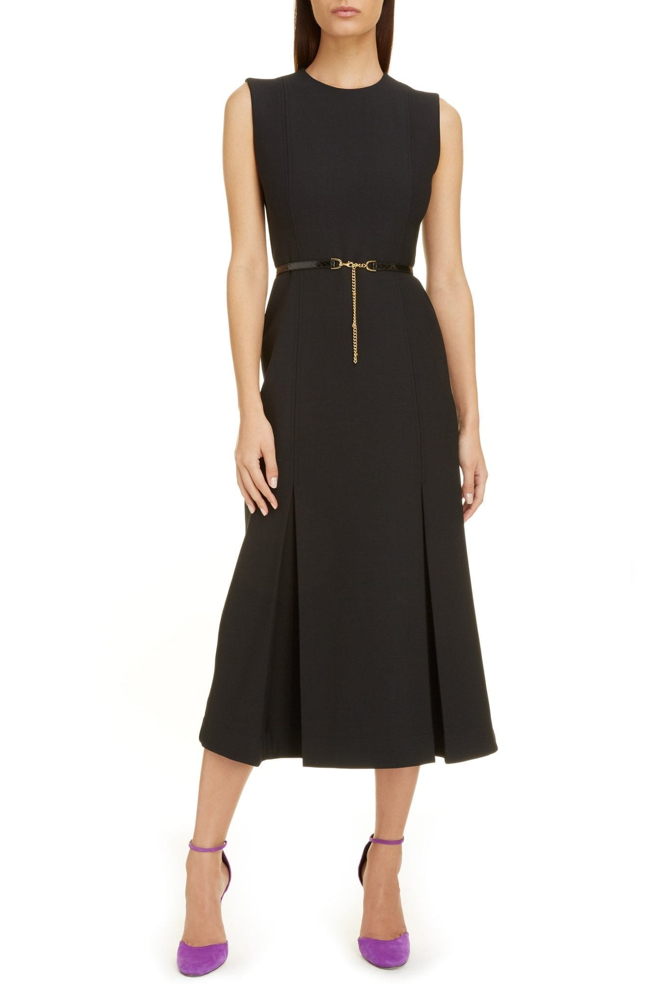 VICTORIA BECKHAM Belted Pleated Midi Dress