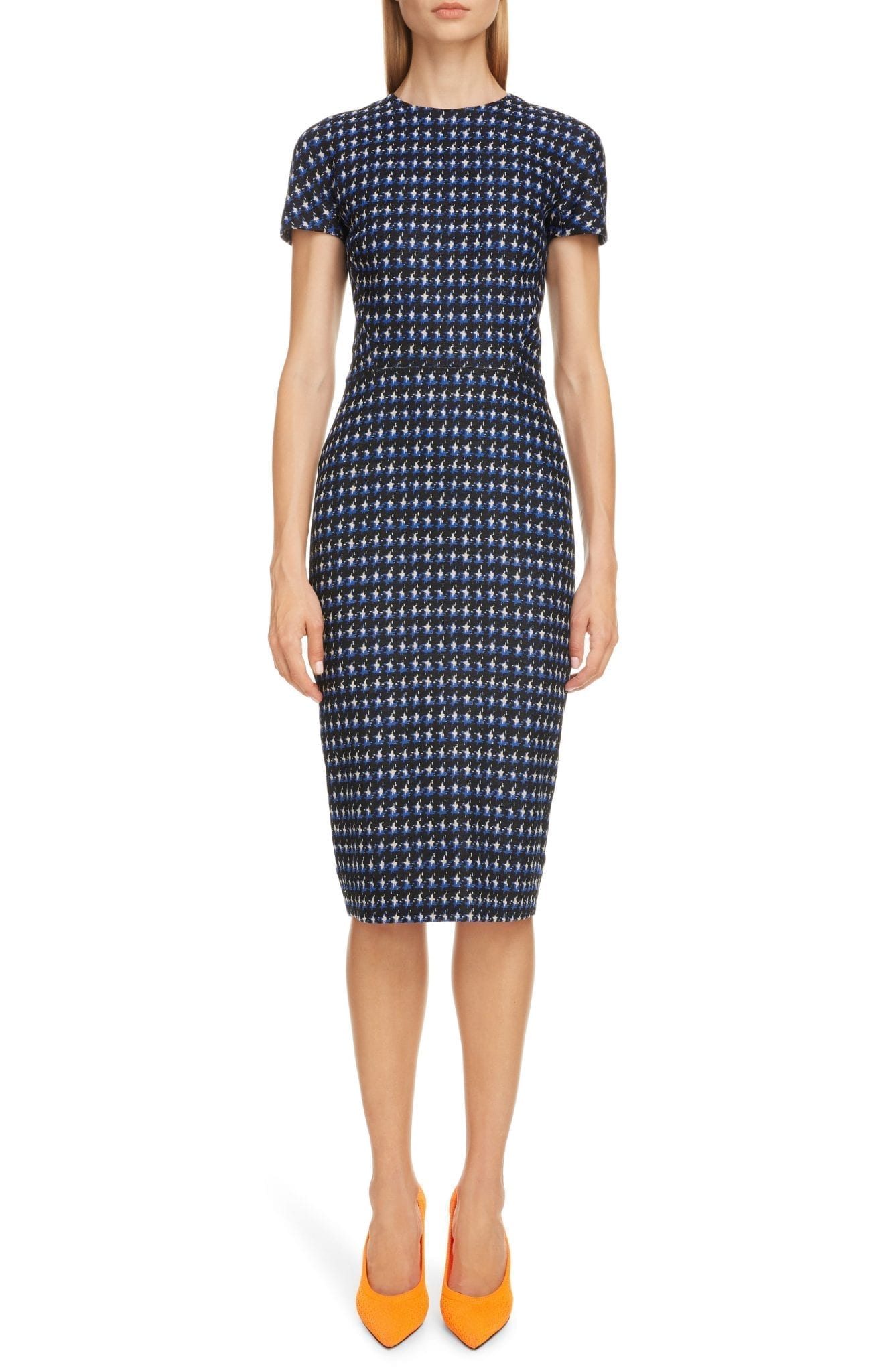 VICTORIA BECKHAM Houndstooth Jacquard Sheath Dress