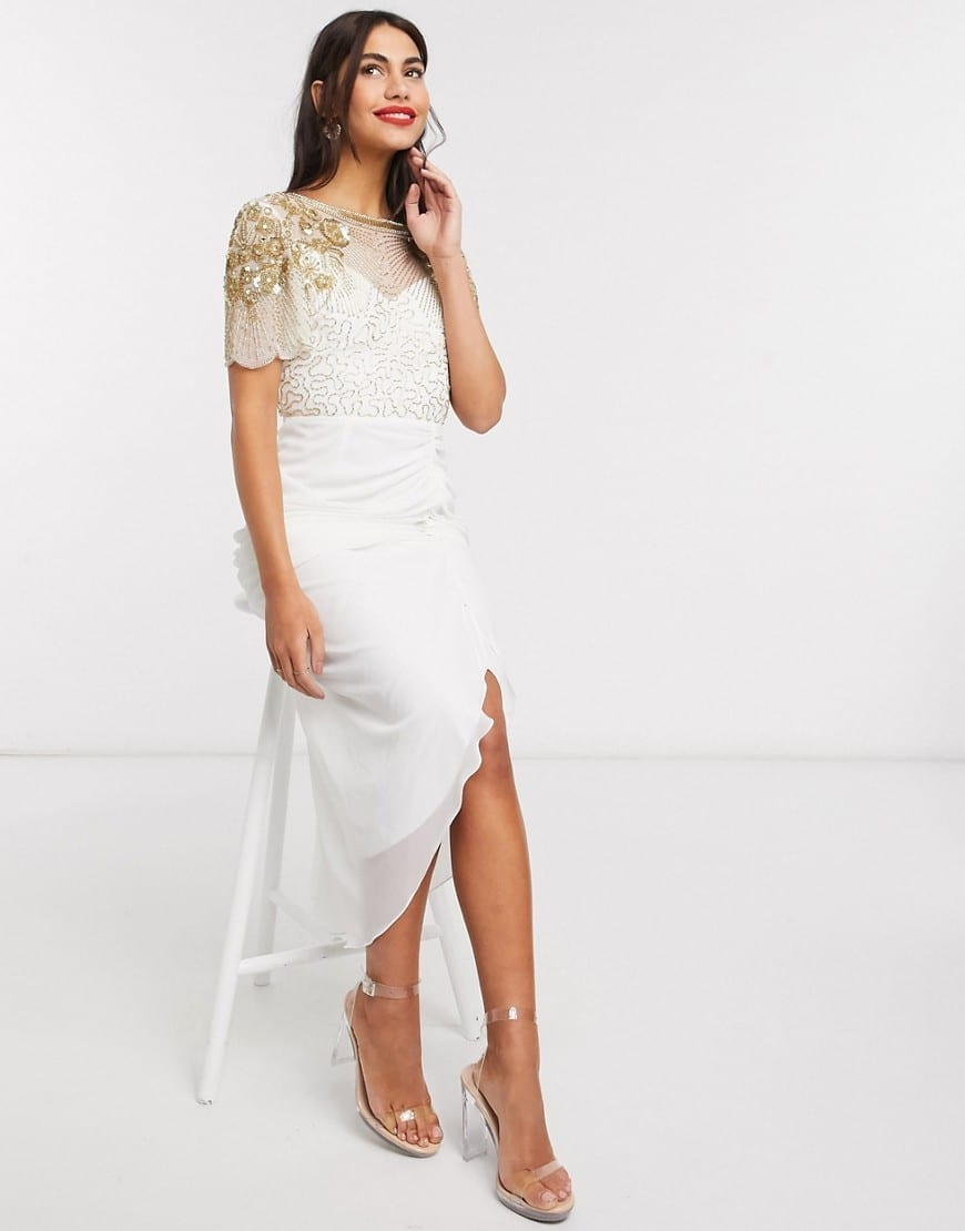VIRGOS LOUNGE Ruched Side Detail With Sheer Overlay Midi Dress