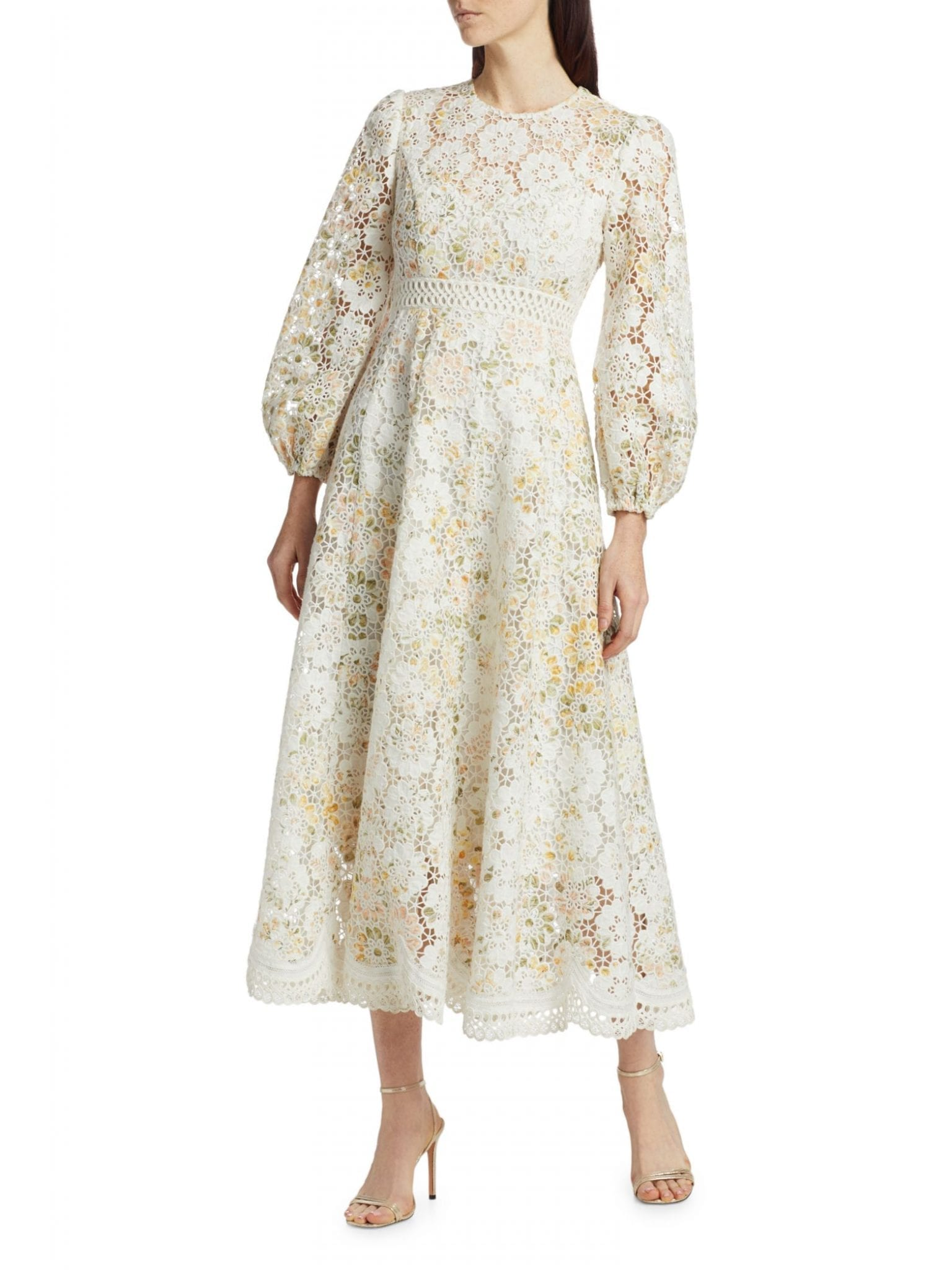 ZIMMERMANN Amelie Floral Linen-Blend Lace Eyelet Puff-Sleeve Dress