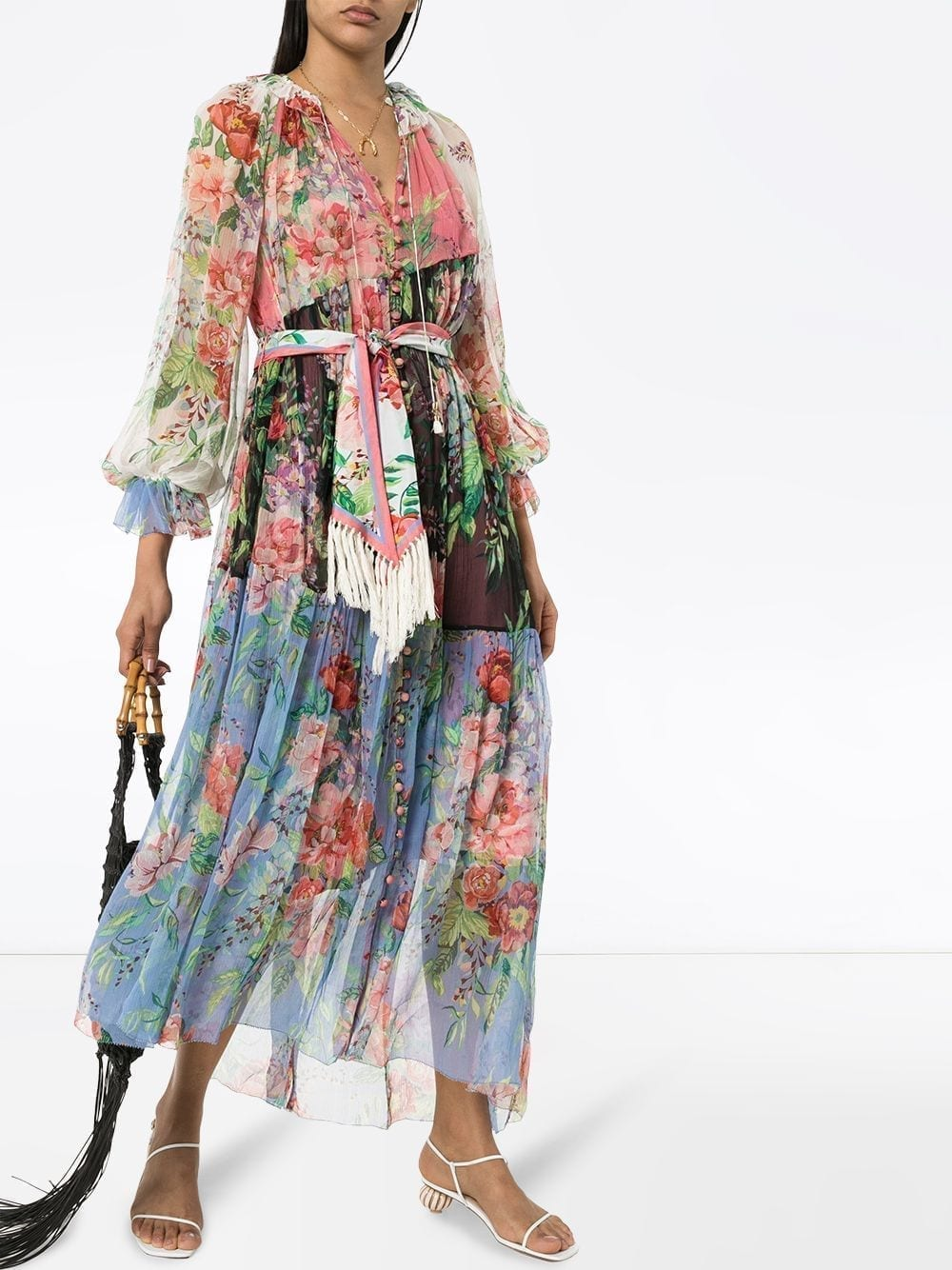 ZIMMERMANN Bellistude Panelled Floral-Print Dress