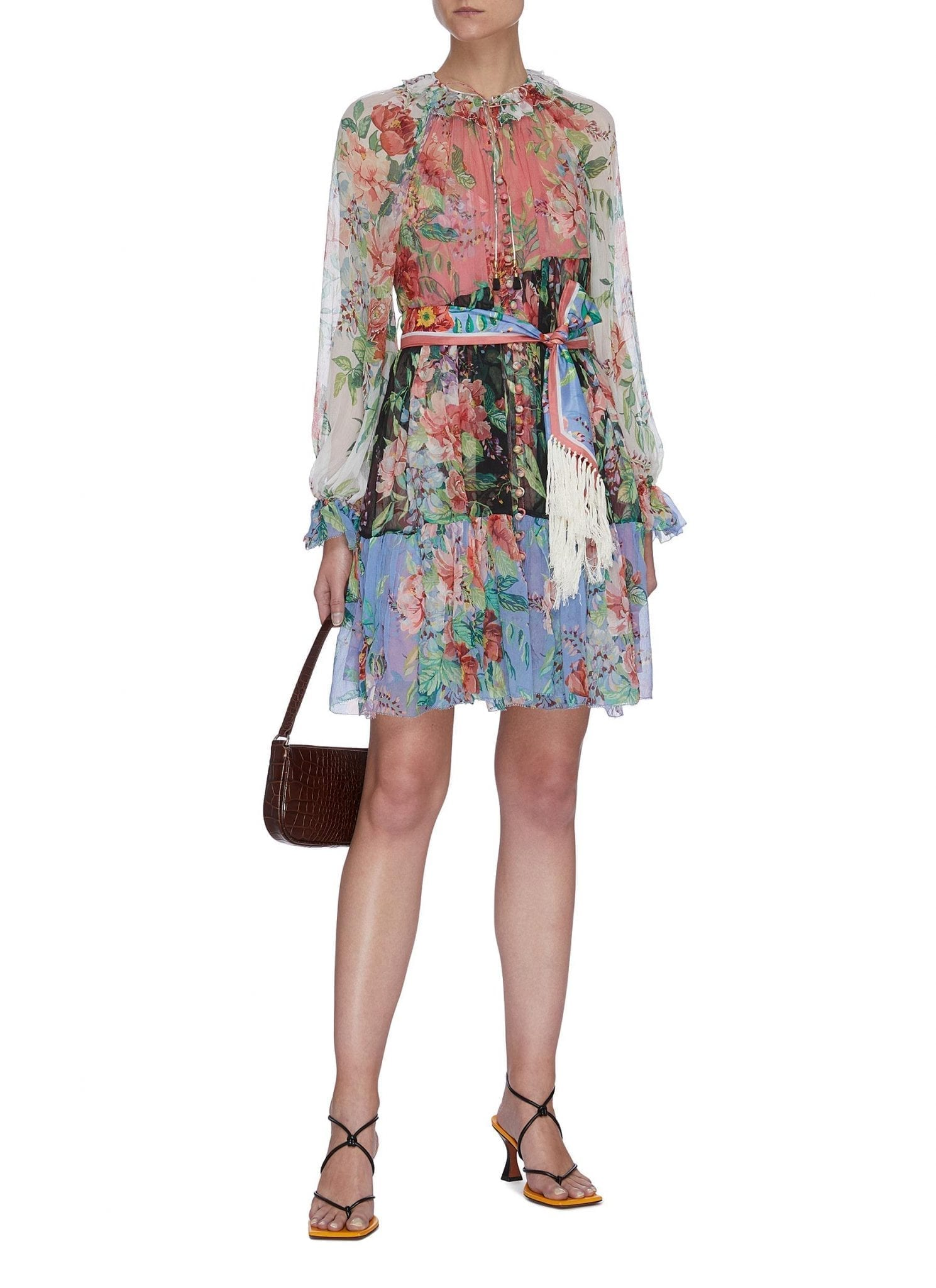 ZIMMERMANN 'Bellitude' Colourblock Floral Print Tassel Waist Silk Mini Dress