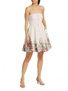 ZIMMERMANN Bellitude Strapless Bustier Mini Dress
