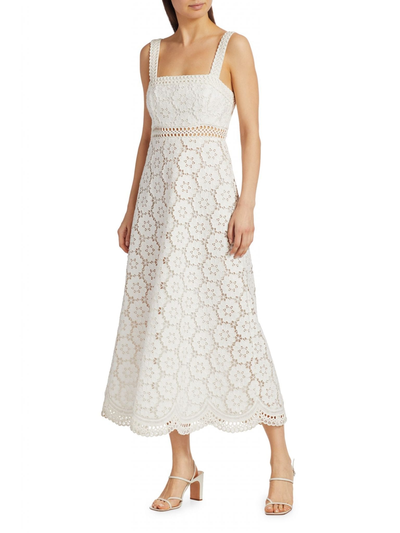 ZIMMERMANN Bells Lace Eyelet Linen-Blend Midi Dress