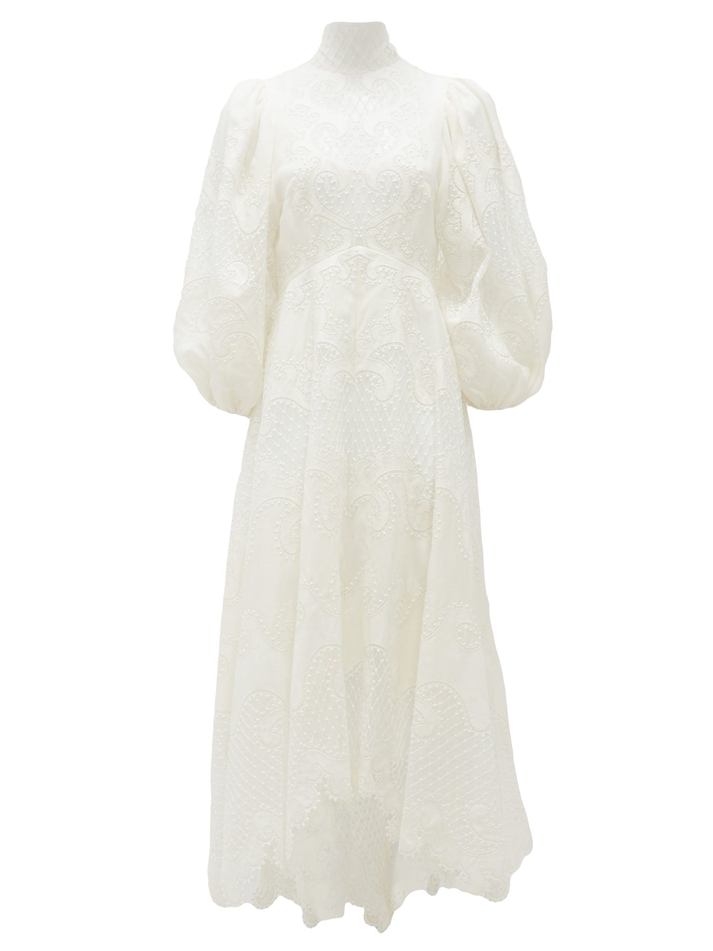 ZIMMERMANN Brightside Embroidered Linen-Blend Gown