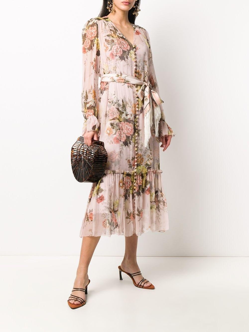 ZIMMERMANN Brightside Lantern Sleeve Midi Dress