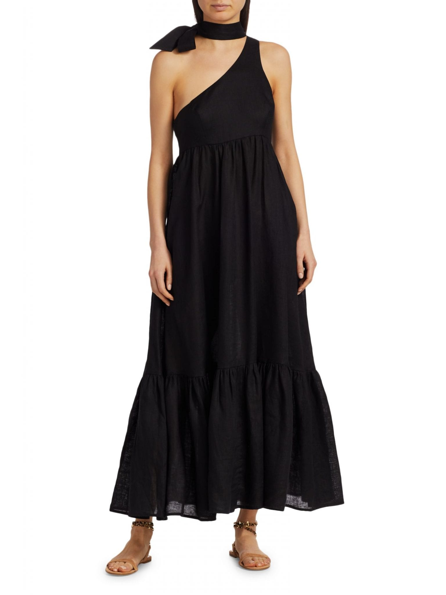 ZIMMERMANN Empire Choker Tie-Neck Midi Dress