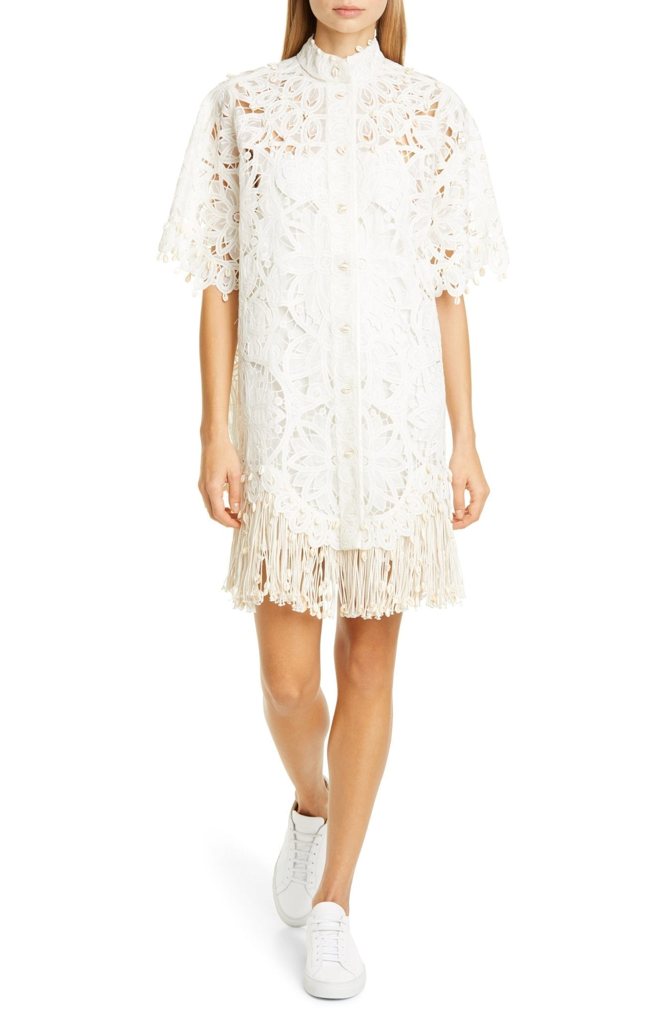 ZIMMERMANN Wavelength Fringe Silk Guipure Lace Mini Dress