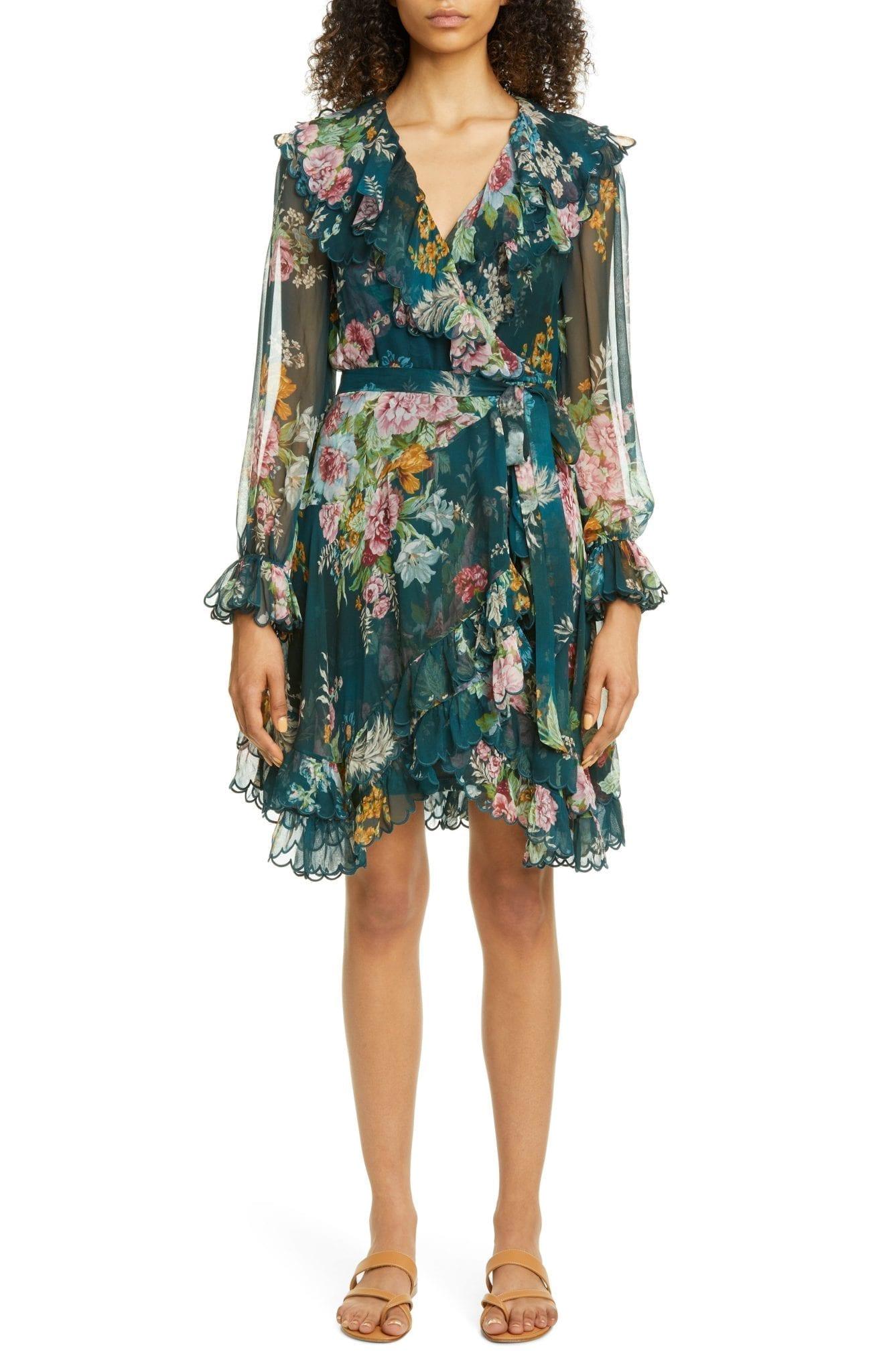 ZIMMERMANN Wavelength Scalloped Ruffle Long Sleeve Silk Mini Dress