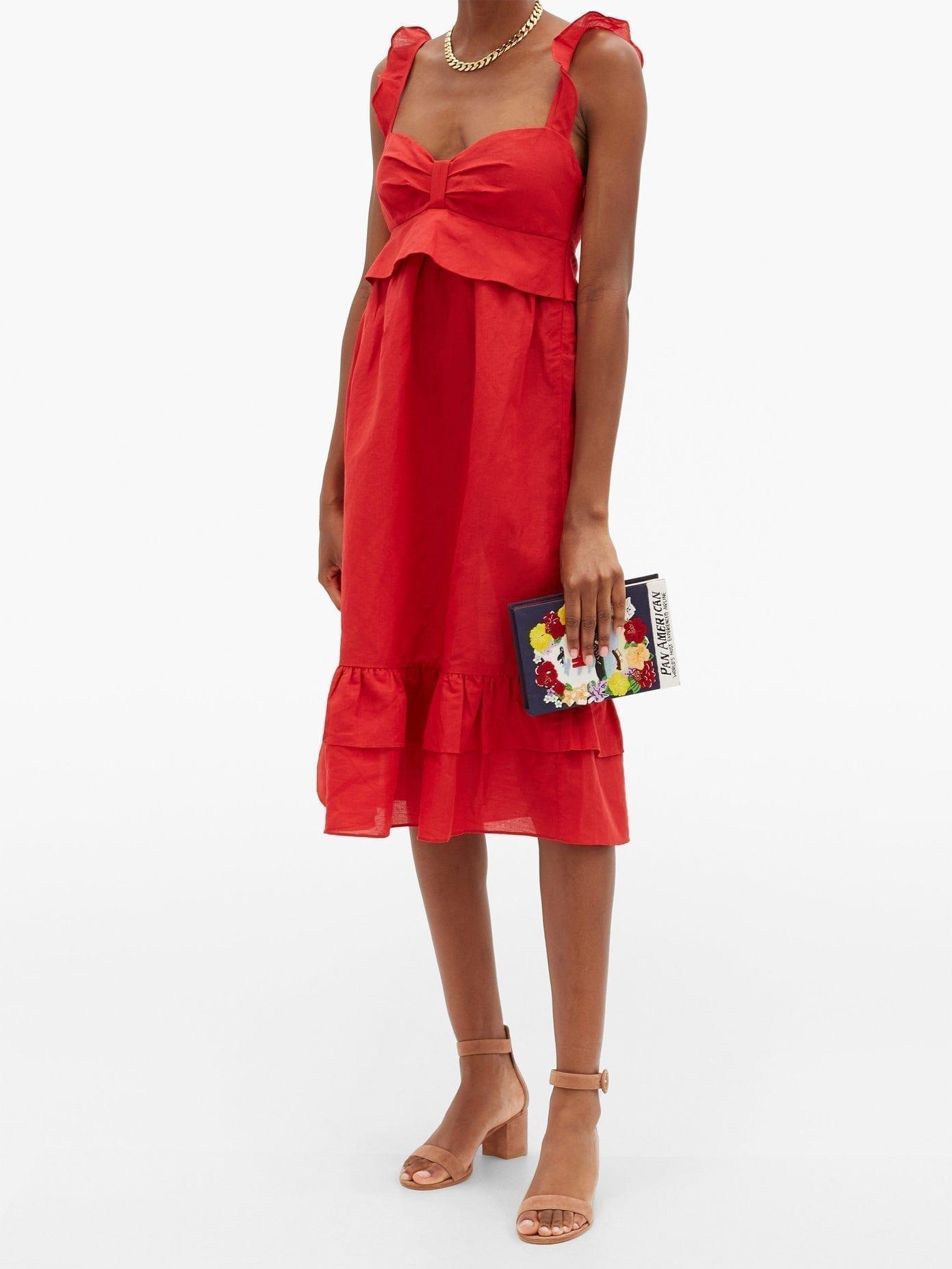 ADRIANA DEGREAS Flounced Linen-blend Midi Dress