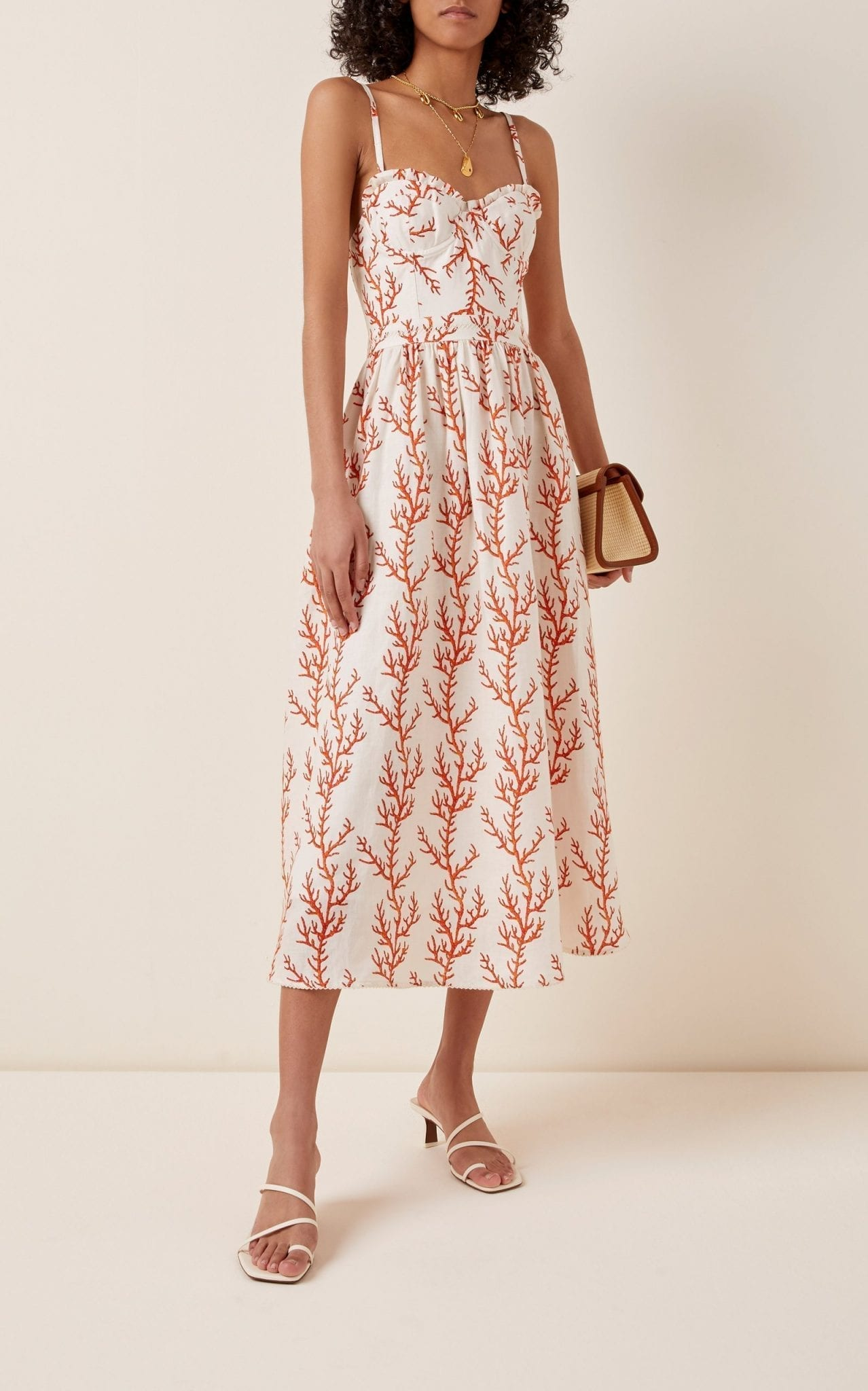 AGUA BY AGUA BENDITA Acacia Arrecife Printed Linen Midi Dress