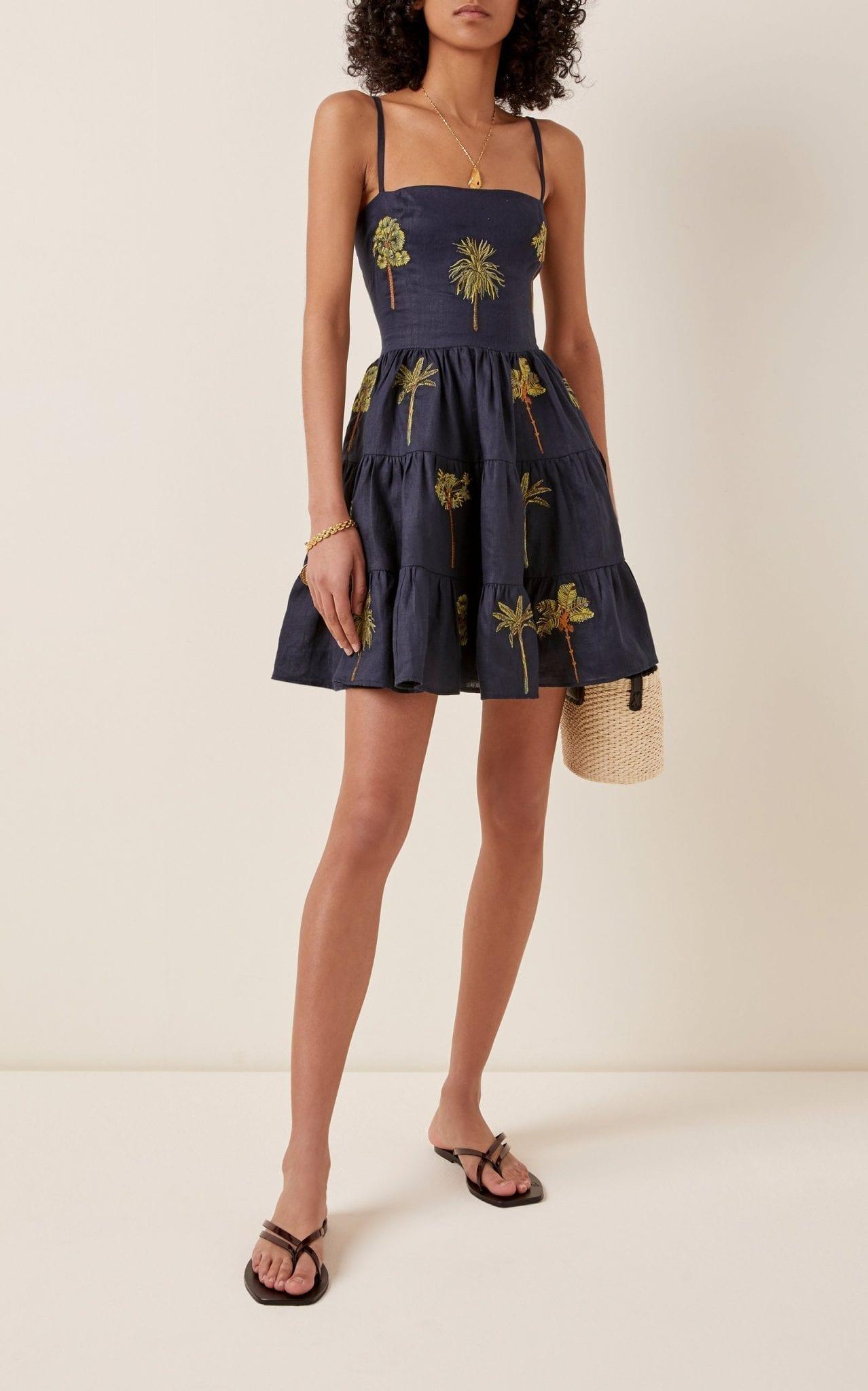 AGUA BY AGUA BENDITA Lima Tropico Printed Linen Mini Dress