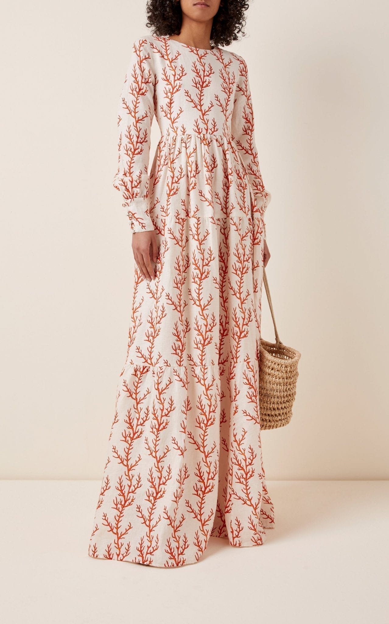 AGUA BY AGUA BENDITA Nuez Arrecife Printed Linen Maxi Dress