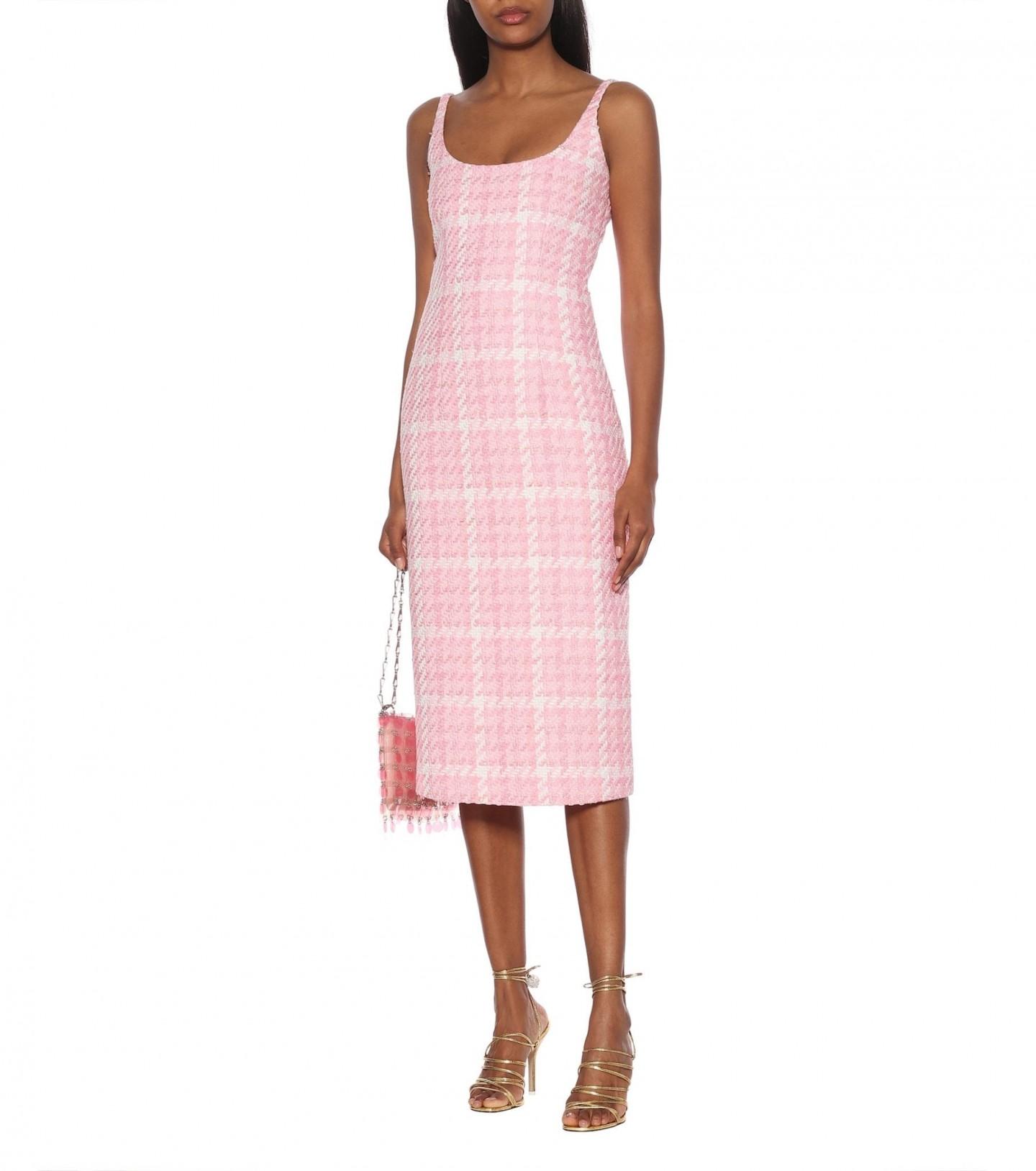 ALESSANDRA RICH Checked Tweed Midi Dress