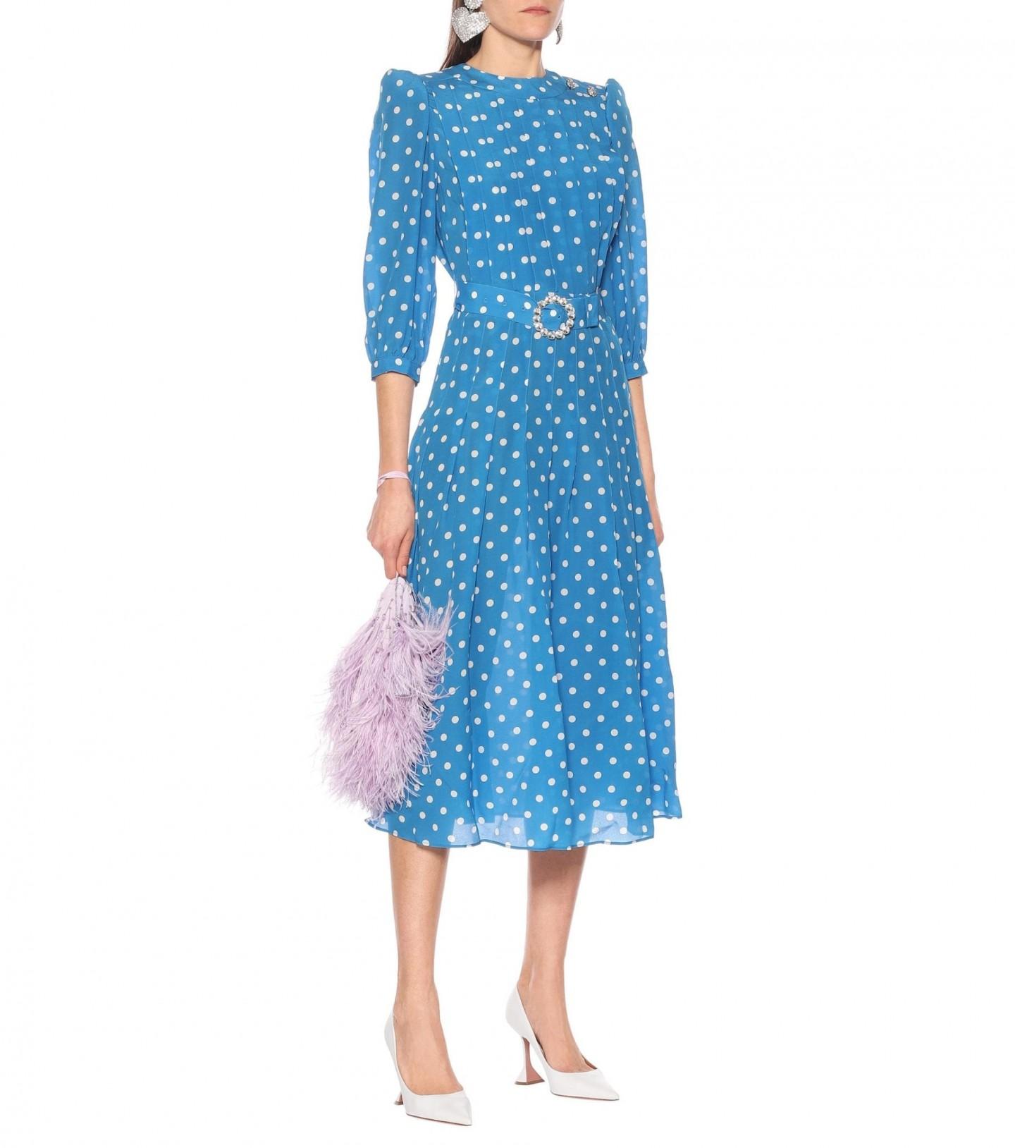 ALESSANDRA RICH Embellished Polka-dot Silk Dress