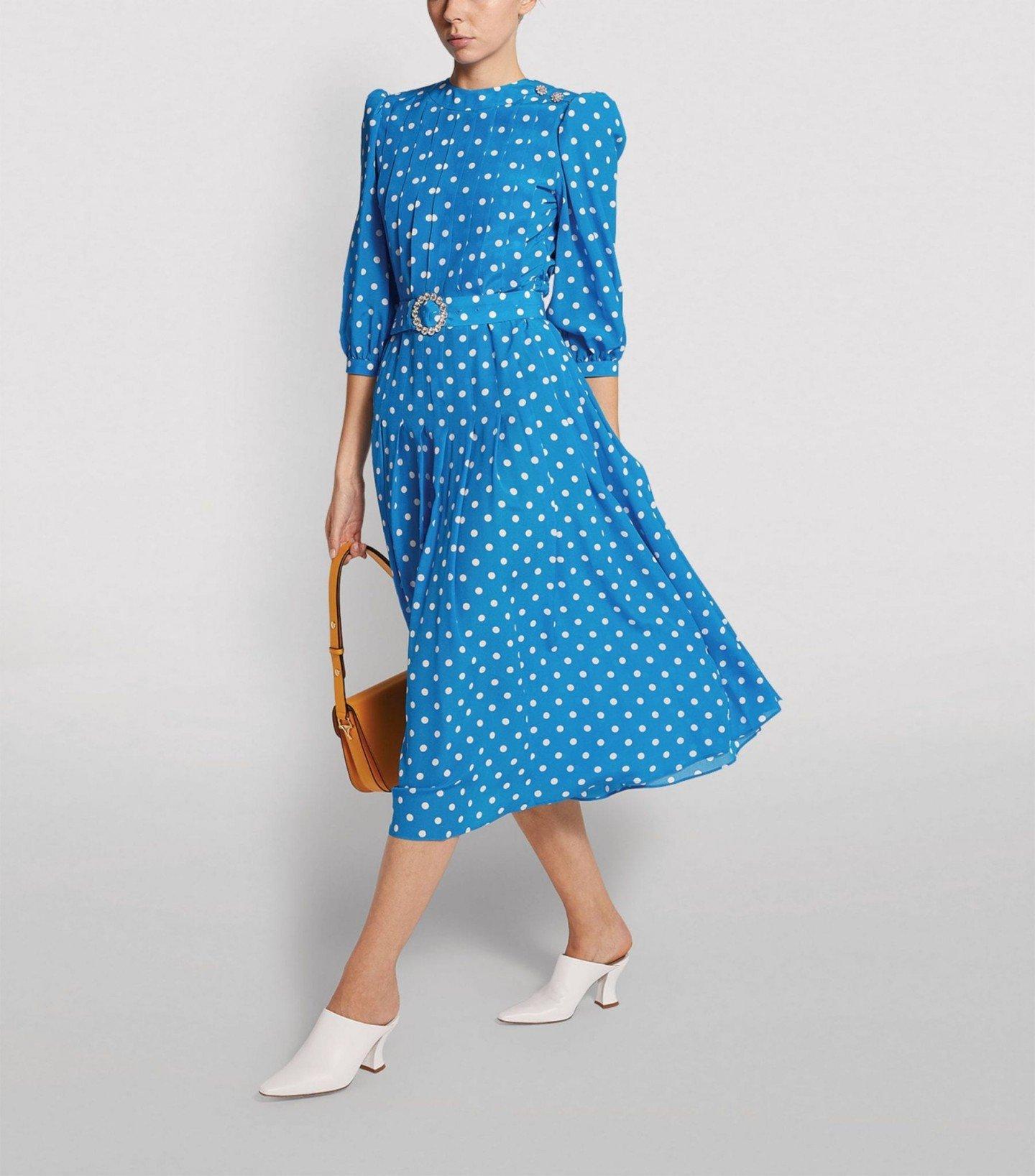 ALESSANDRA RICH Polka-Dot Pleated Midi Dress