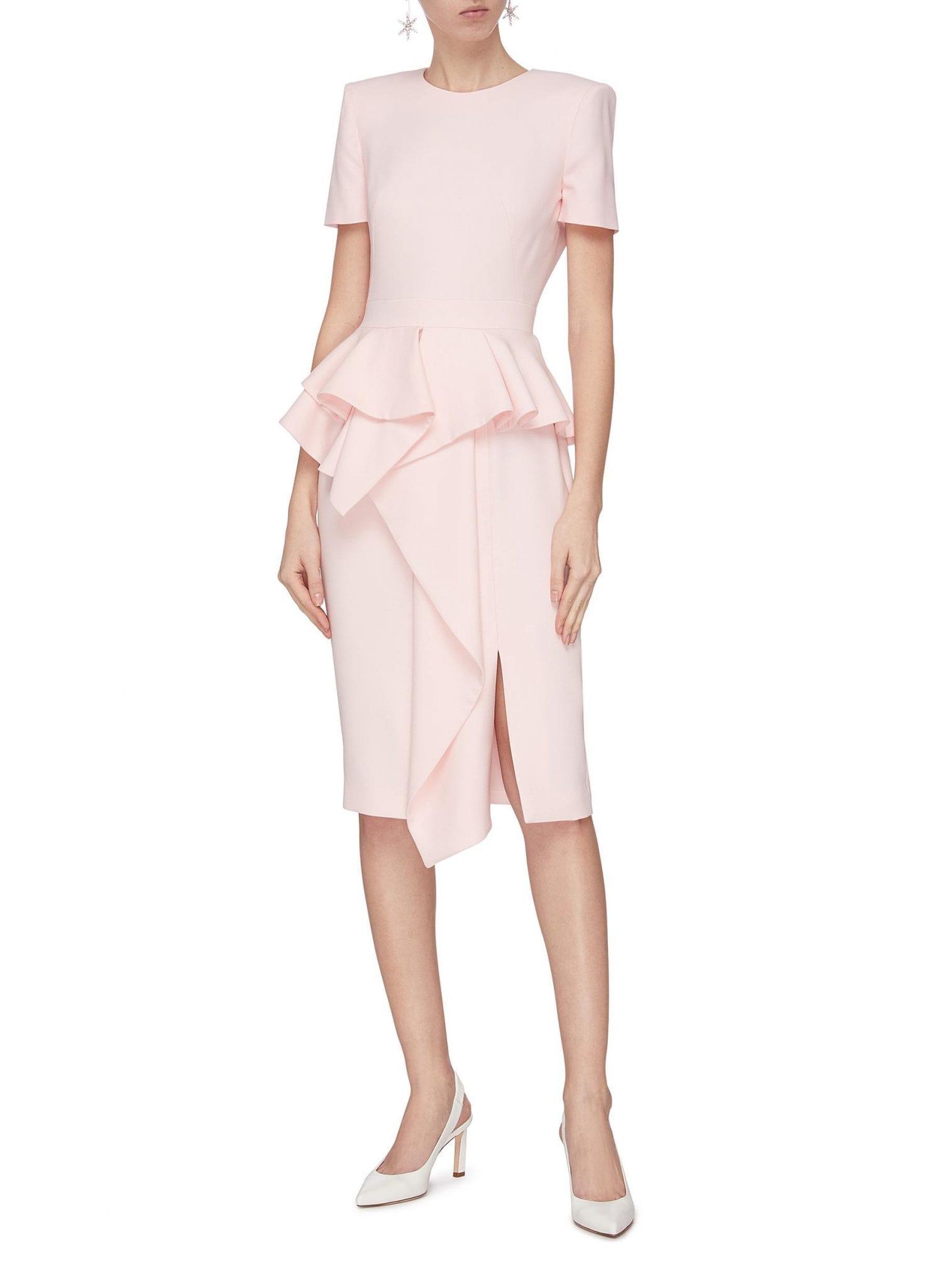 ALEXANDER MCQUEEN Asymmetric Ruffle Tailored Dress