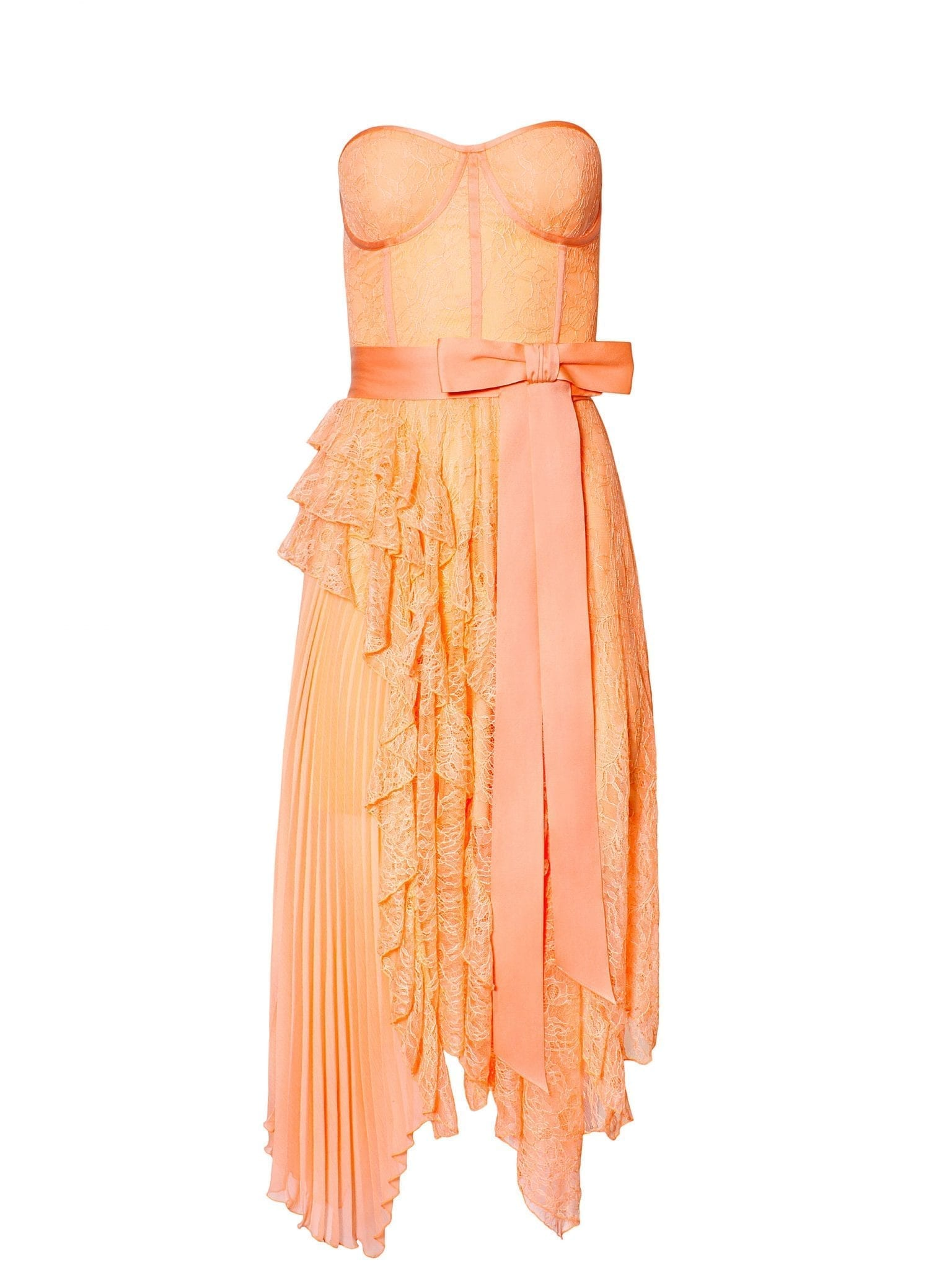 ALICE AND OLIVIA Bree Ruffle Pleated Midi Dress