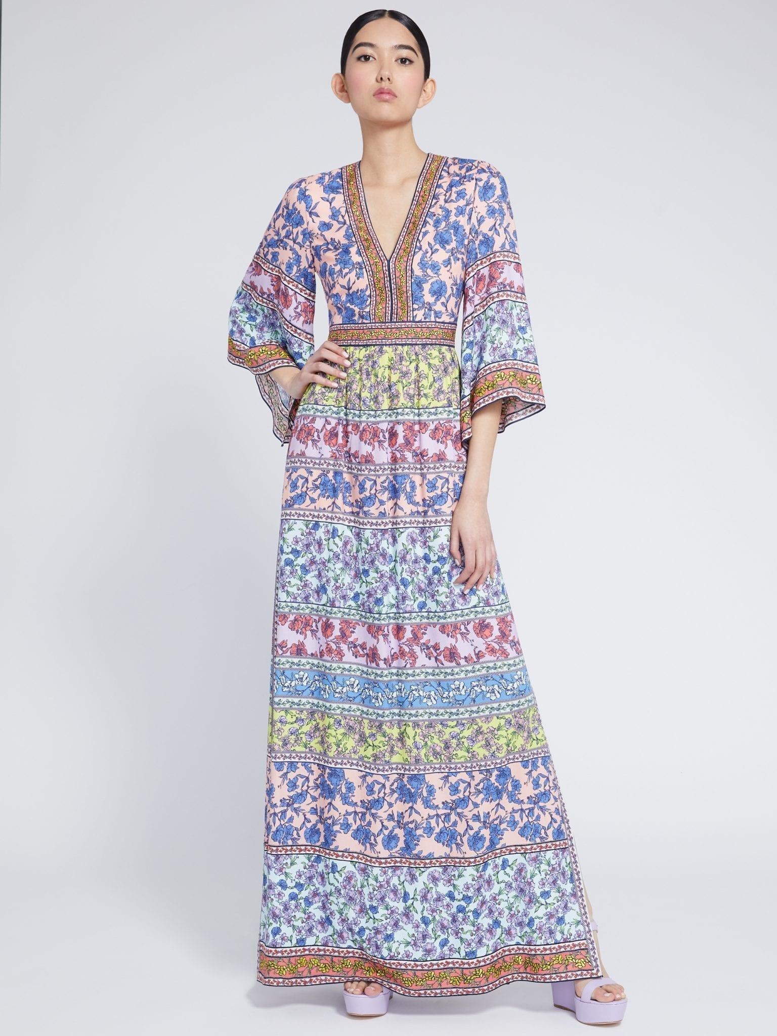 ALICE AND OLIVIA Lena Embroidered Kimono Dress