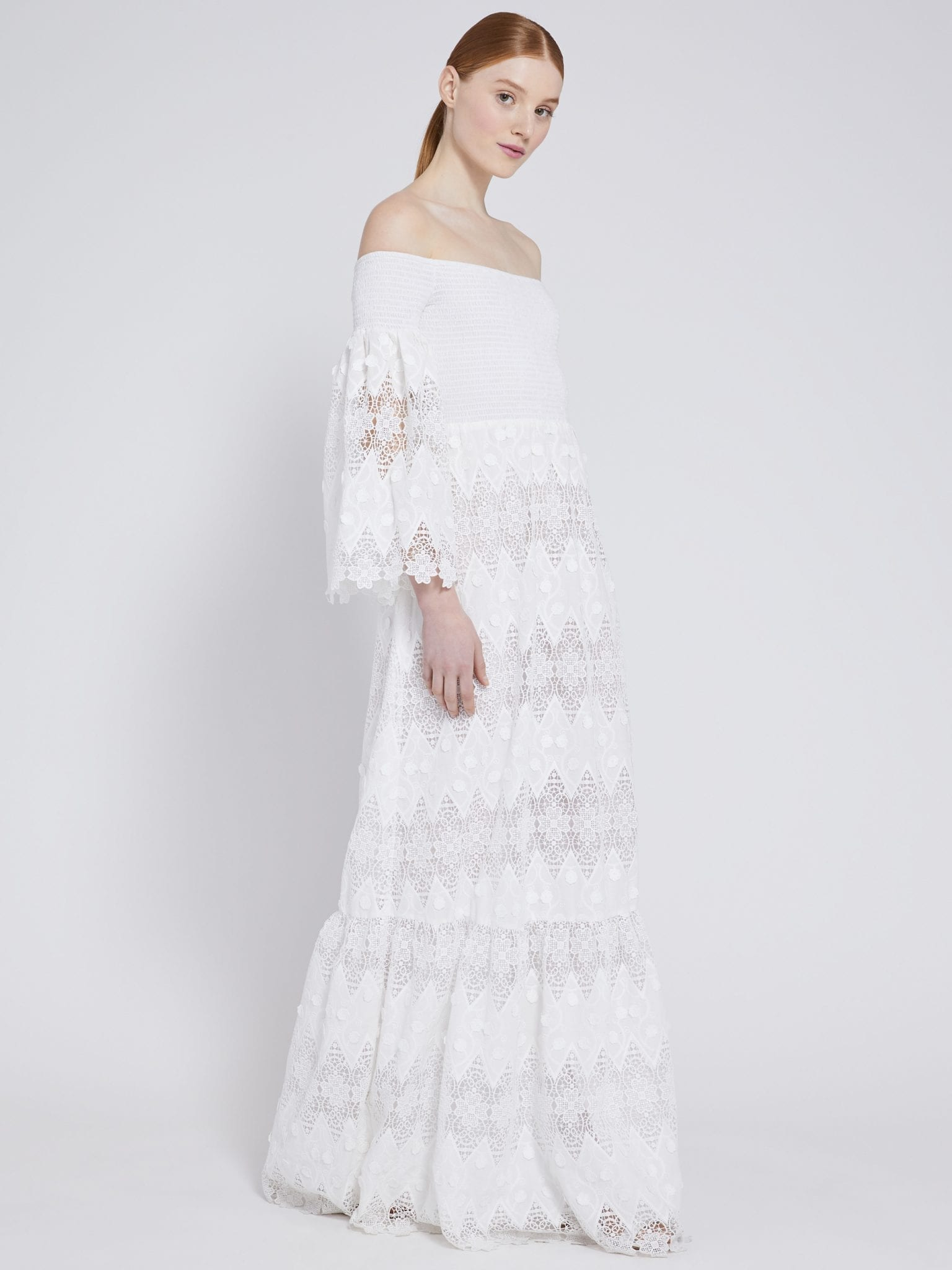 ALICE AND OLIVIA Roseline Off Shoulder Maxi Dress