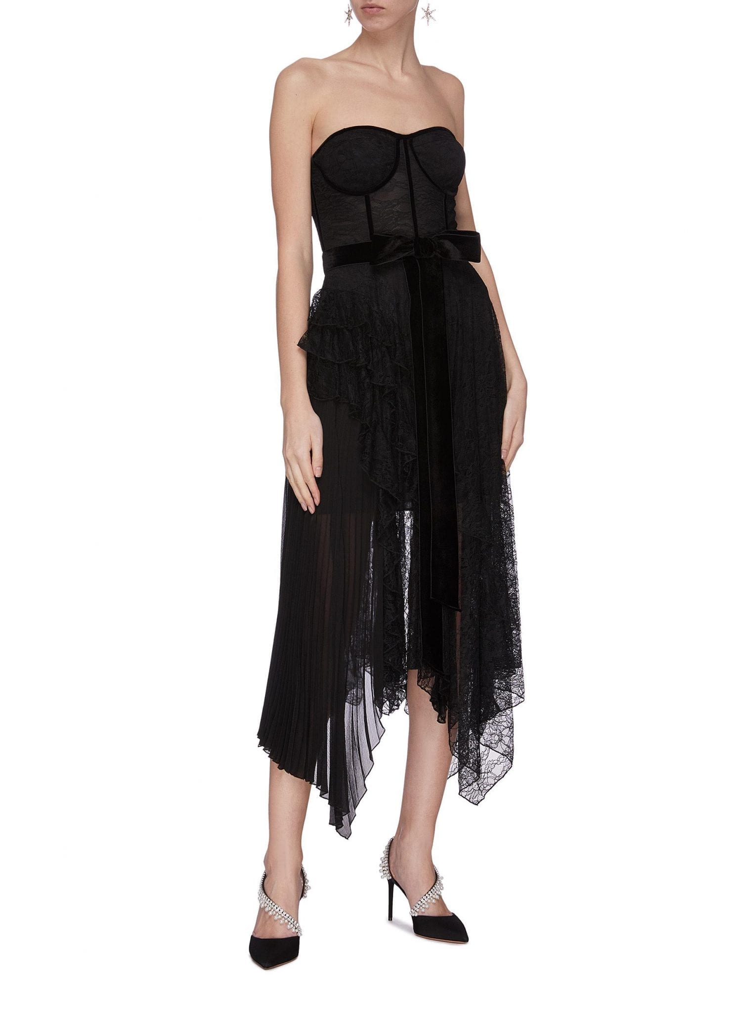 ALICE + OLIVIA 'Bree' Belted Asymmetric Ruffle Dress