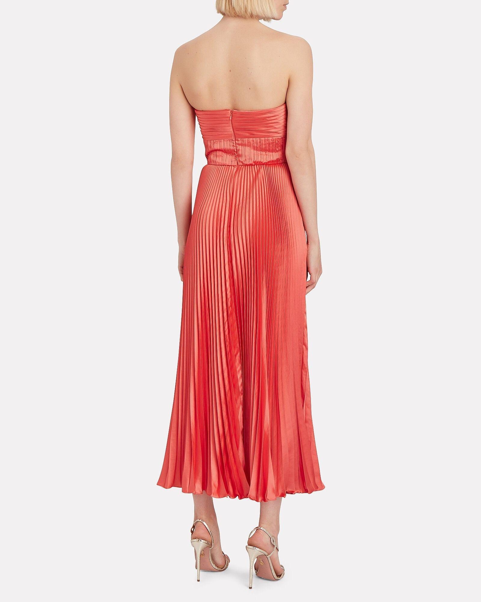 AMUR Belle Strapless Pleated Satin Dress
