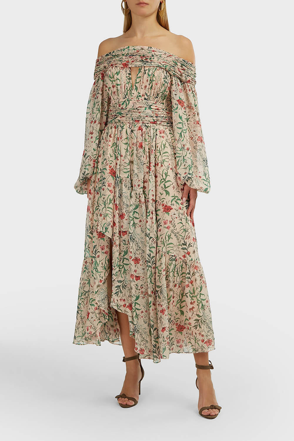 AMUR Daria Off-Shoulder Floral Dress