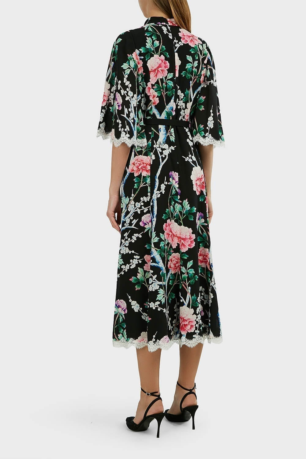 ANDREW GN Lace-Trimmed Floral Silk Midi Dress