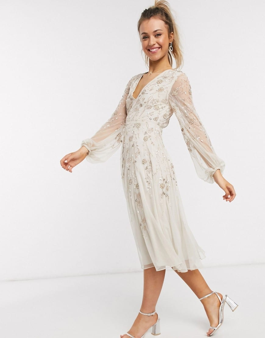 ASOS DESIGN Blouson Sleeve And Delicate Floral Embellishment Midi Dress