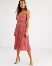 ASOS DESIGN Drawstring Waist Pleated Cami Midi Dress