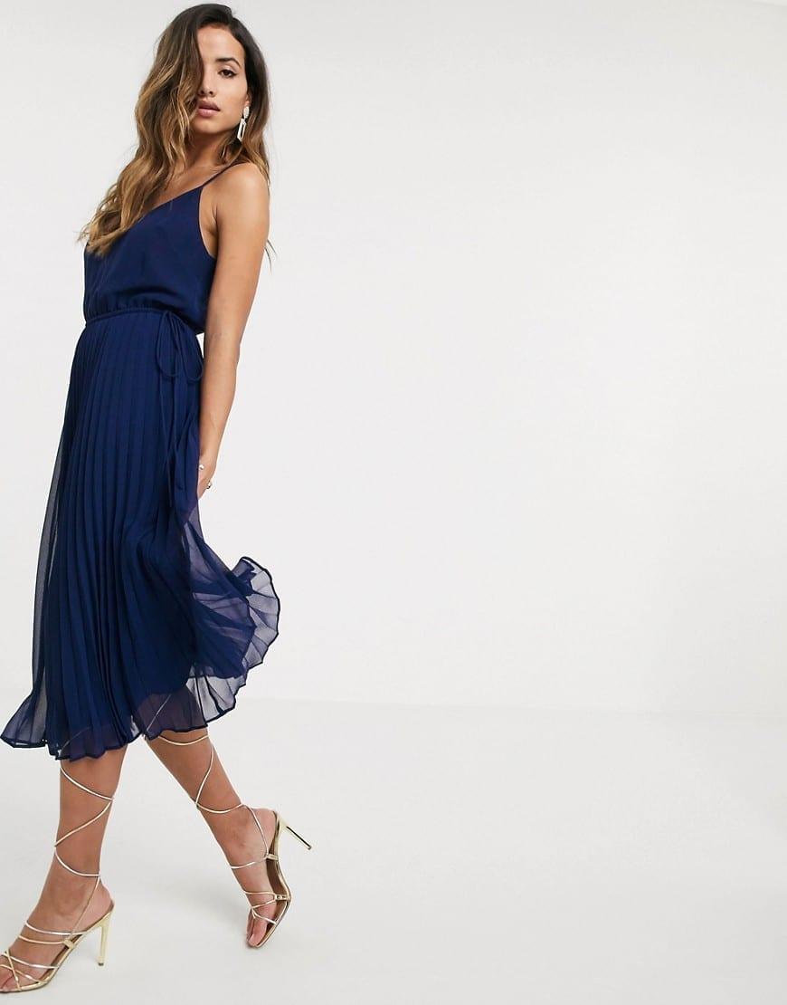 ASOS DESIGN Drawstring Waist Pleated Cami Midi Dress