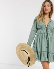 ASOS DESIGN Lace Insert Button Through Mini Smock Dress