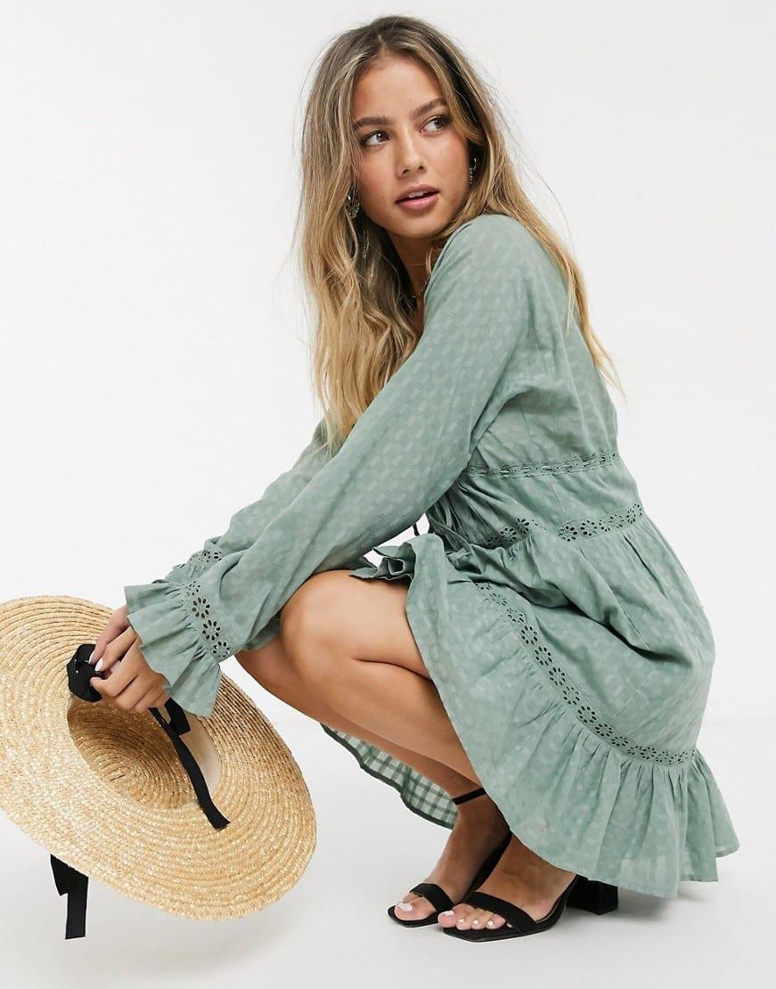 ASOS DESIGN Lace Insert Button Through Mini Smock Dress