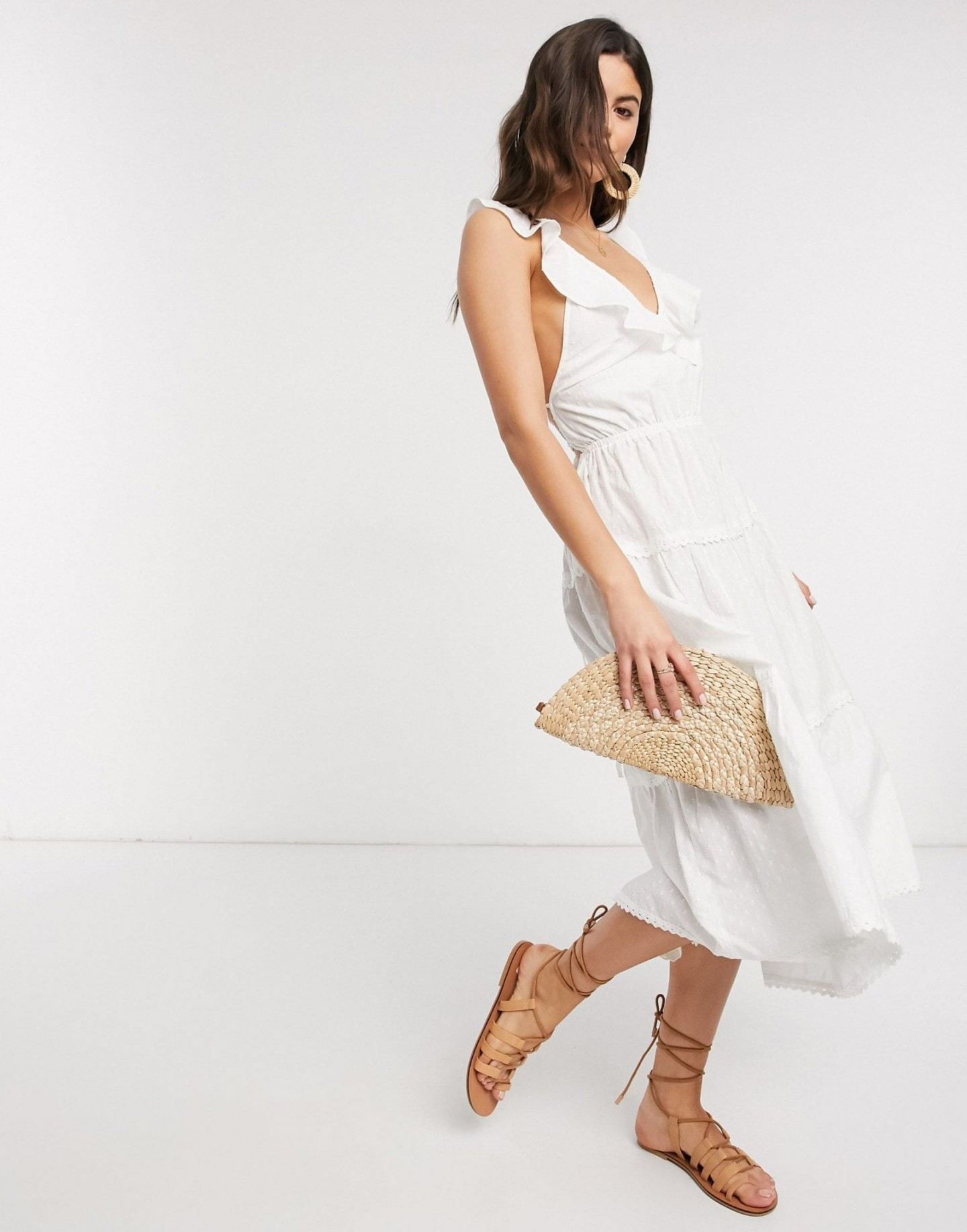 ASOS DESIGN Lace Up Back Dobby Tiered Midi Skater Sun Dress