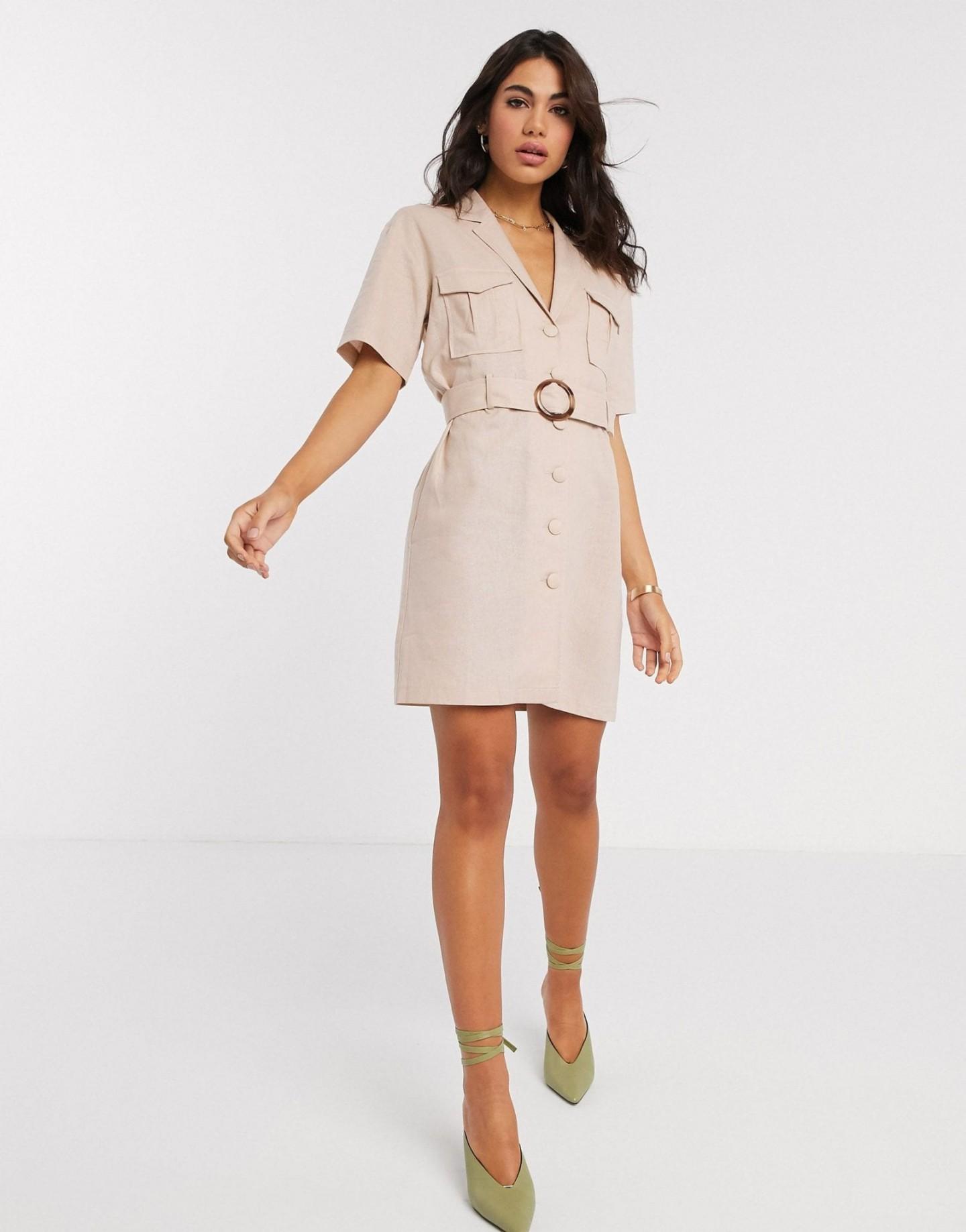 ASOS DESIGN Linen Utility Wrap Mini Dress