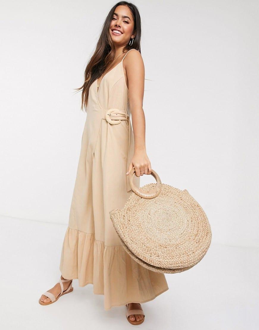 ASOS DESIGN Linen With Wicker Belt Cami Wrap Maxi Dress